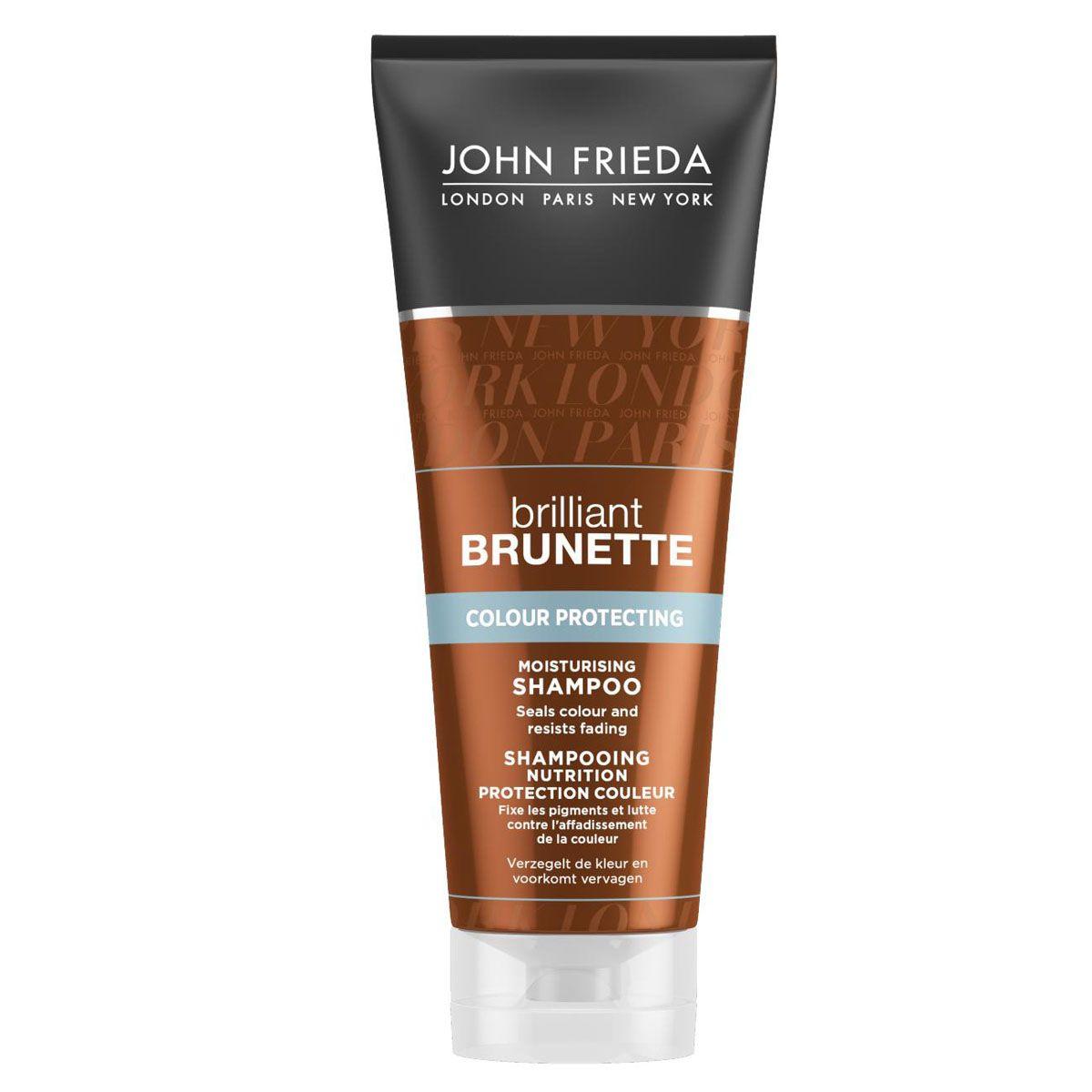 John Frieda Увлажняющий шампунь для защиты цвета темных волос Brilliant Brunette COLOUR PROTECTING 250 млSatin Hair 7 BR730MNЗакрепляет цвет и поддерживает его интенсивность. Сохраните красоту и стойкость цвета волос. Увлажняющий шампунь поможет защитить и сохранить цвет темных волос, компенсируя недостающую влагу сухим и окрашенным темным волосам.