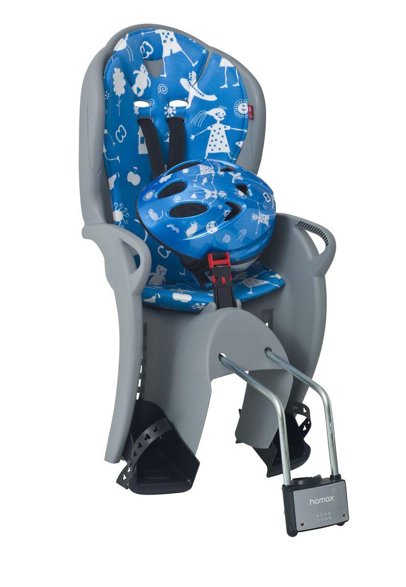 Детское кресло Hamax Kiss Safety Package, со шлемом, цвет: серый, синий590005Рисунок на шлеме имеет такой же дизайн, как амортизирующая подушка на сиденье.Регулируемый ремень безопасности и подножкиДополнительные мягкие пряжки для фиксации ребенка в кресле очень легкие и комфортные, но при этом обеспечивают надежную фиксацию ребенка в велокресле, позволяя при необходимости совершать резкие маневры и торможения. Эргономика велокресла рассчитана так что спинка кресла не будет мешать голове ребенка в моменты когда он хочет откинуться назад кресла в шлеме.Механизмы регулировки застежек позволяют комфортно отрегулировать их вместе с ростом ребенка.Переставляйте детское сиденье для велосипеда между двумя велосипедамиДетское сиденье для велосипеда очень легко крепится и освобождается от велосипеда. Приобретая дополнительный кронштейн, вы можете легко переставлять детское сиденье с одного велосипеда на другой.Hamax рекомендует, что ребенок должен всегда носить шлем при использовании детского сиденья.Особенности модели * Проработанная эргономика кресла для максимально комфортной посадки. * Специальная конструкция пряжек ремней безопасности/фиксации для предотвращения саморастегивания ребенка. * Простое в использование, полностью соответствующее всем Европейским стандартам безопасности. * Возможность установить на любом велосипеде как с багажником, так и без. * Предназначено для детей в возрасте старше 9 месяцев и весом до 22 кг. * Регулируемый ремень безопасности и подножки. * Детское велосиденье благодаря удобному и надежному замку фиксации легко ставиться и снимается с велосипеда. * Несущие дуги крепления велокресла обеспечивает отличную амортизацию. * Подходит для подседельных труб рамы велосипеда диаметром от 28 до 40 мм. (круглые и овальные) * Система крепления велокресла не мешает тросам переключения передач.Велокресло сертифицировано по: TUV / GS EN14344Внешний размер шлема: 28 см х 20 см х 14 см.Максимальный обхват головы: 52 см.