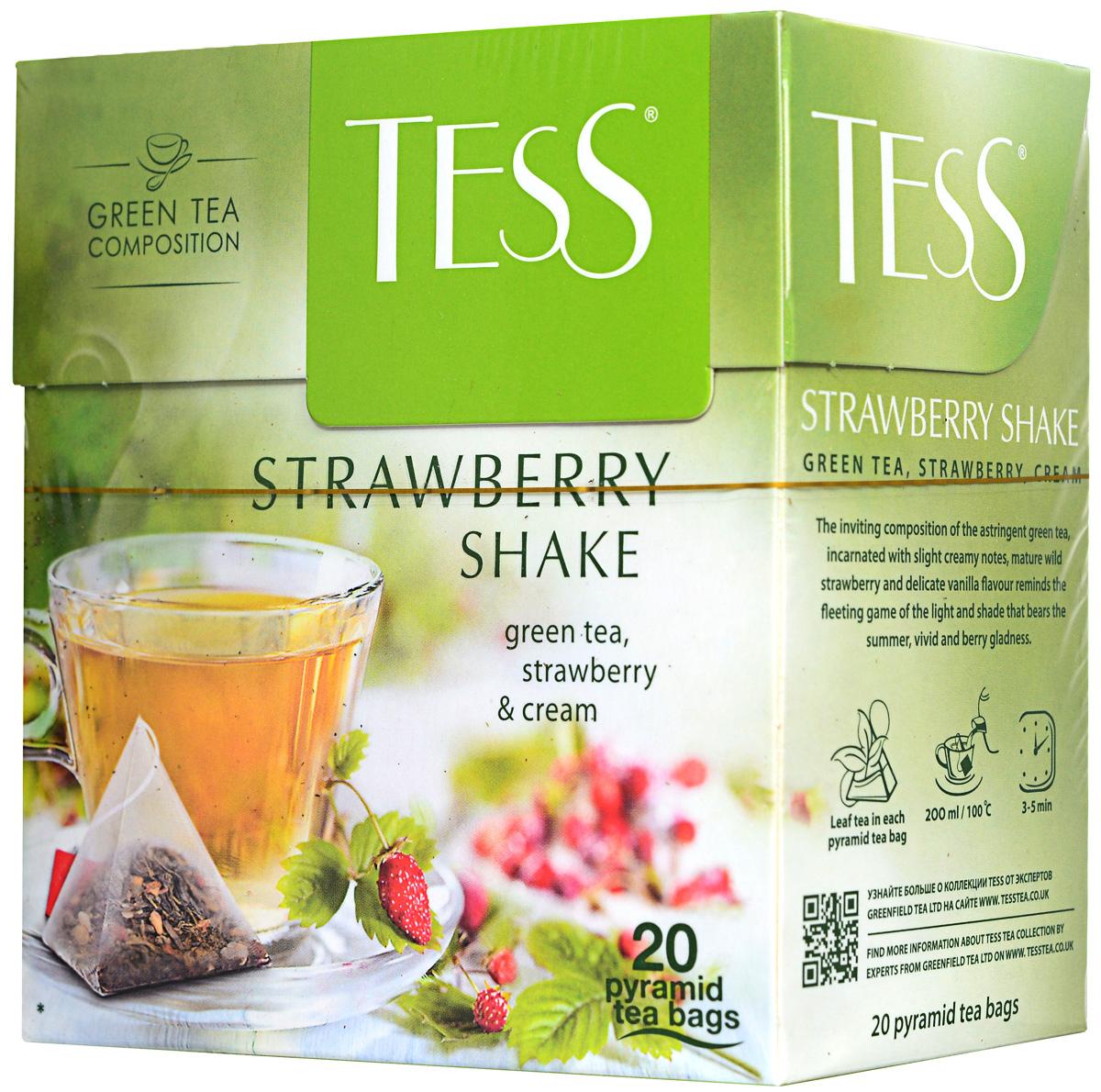 Tess Strawberry Shake зеленый чай в пирамидках, 20 шт майский корона российской империи черный чай в пирамидках 20 шт