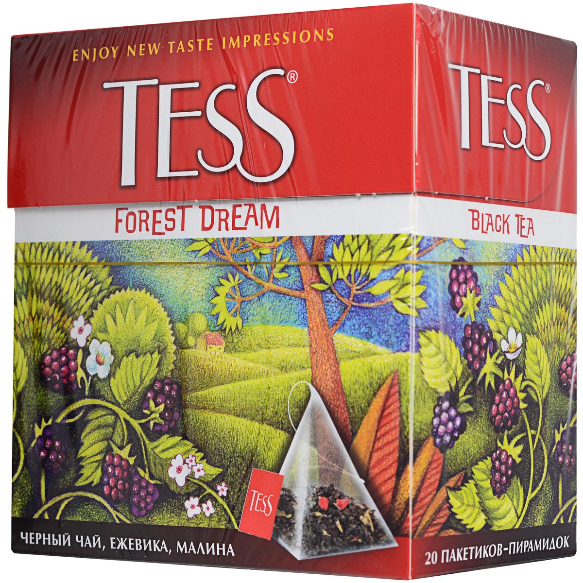 Tess Forest Dream ароматизированный чай в пакетиках, 20 шт101246Чудесная композиция благородного цейлонского чая с кусочками ежевики и лесной малины открывает новый великолепный вкус, в котором слышится благоухание лесной опушки, согретой июльским солнцем. Уважаемые клиенты! Обращаем ваше внимание на возможные изменения в дизайне упаковки. Поставка осуществляется в одном из двух приведенных вариантов упаковок в зависимости от наличия на складе.