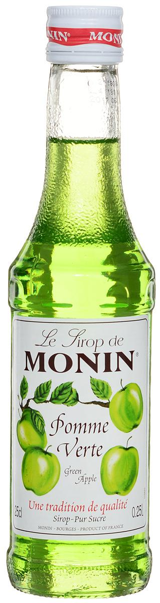 Monin Зеленое яблоко сироп, 0.25 л0120710Зеленые яблоки имеют светло-зеленый цвет, хотя у некоторых может быть розовый румянец. Хрустящие, сочные, сладкие яблоки, которые превосходны для приготовления пищи и употребления в сыром виде попали в сироп Monin Зеленое яблоко. Этот сироп имеет запах свежесрезанных яблок Granny Smith, а также терпкий, сладкий и сочный вкус зеленого яблока. Он отлично совмещается с газированными напитками, лимонадами, коктейлями, фруктовыми пуншами и чаем.Сиропы Monin выпускает одноименная французская марка, которая известна как лидирующий производитель алкогольных и безалкогольных сиропов в мире. В 1912 году во французском городке Бурже девятнадцатилетний предприниматель Джордж Монин основал собственную компанию, которая специализировалась на производстве вин, ликеров и сиропов. Место для завода было выбрано не случайно: город Бурже находился в непосредственной близости от крупных сельскохозяйственных районов — главных поставщиков свежих ягод и фруктов. Производство сиропов стало ключевым направлением деятельности компании Monin только в 1945 году, когда пост главы предприятия занял потомок основателя — Пол Монин. Именно под его руководством ассортимент марки пополнился разнообразными сиропами из натуральных ингредиентов, которые молниеносно заслужили блестящую репутацию в кругу поклонников кофейных напитков и коктейлей. По сей день высокое качество остается базовым принципом деятельности французской марки. Сиропы Monin создаются исключительно из натуральных ингредиентов по уникальным технологиям, позволяющим сохранять в готовом продукте все полезные свойства природного сырья.Эксперты всего мира сходятся во мнении, что сиропы Monin — это законодатели мод в миксологии. Ассортимент французской марки на сегодняшний день является самым широким и насчитывает полторы сотни уникальных вкусовых решений. В каталоге компании можно найти как классические вкусы для кофейных напитков (шоколадный, ванильный, ореховый и другие сиропы), так и весьма экзоти
