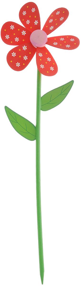 Декоративная фигура-вертушка Village People Цветник, цвет: красный, зеленый, белый, высота 57 смKOC_SOL249_G4Ветряная фигурка-вертушка Village People Цветник, изготовленная из дерева, это не только любимая всеми игрушка, но и замечательный способ отпугнуть птиц с грядок. Изделие выполнено в виде цветка и располагается на палочке. Яркий дизайн изделия оживит ландшафт сада. Высота: 57 см. Диаметр вертушки: 16 см.