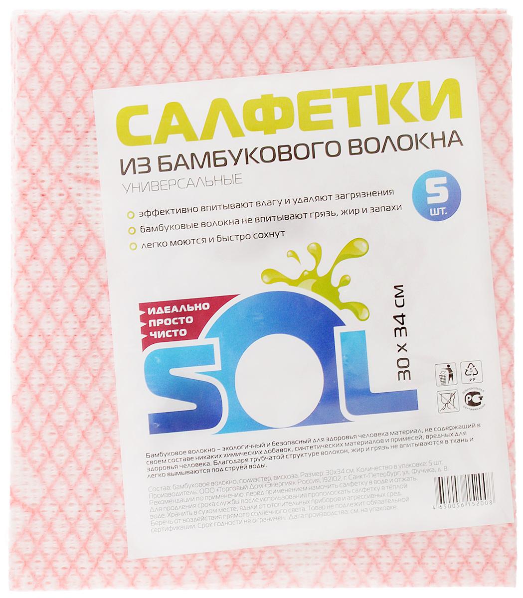 Салфетка для уборки Sol из бамбукового волокна, 30 x 34 см, 5 штVCA-00Салфетки Sol, выполненные из бамбукового волокна, вискозы и полиэстера, предназначены для уборки. бамбуковое волокно - экологичный и безопасный для здоровья человека материал, не содержащий в своем составе никаких химический добавок, синтетических материалов и примесей. Благодаря трубчатой структуре волокон, жир и грязь не впитываются в тканьлегко вымываются обычной водой.Рекомендации по уходу:Бамбуковые салфетки не требуют особого ухода. После каждого использования их рекомендуется промыть под струей воды и просушить. Периодически рекомендуется простирывать салфетки мылом. Не следует стирать их с порошками, а также специальными очистителями или бытовыми моющими средствами. Кроме того не рекомендуется сушить салфетки на батарее.
