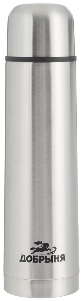 Термос Добрыня, 1 л. DO - 1803DO - 1803Дорожный термос Добрыня выполнен из нержавеющей стали с матовой полировкой. Внутренняя колба выполнена из высококачественной нержавеющей стали. Термос имеет вакуумную прослойку между внутренней колбой и внешней стенкой. Специальная термоизоляционная прокладка удерживает тепло. Термос снабжен плотно прилегающей закручивающейся пластиковой пробкой с нажимным клапаном. Для того чтобы налить содержимое термоса нет необходимости откручивать пробку. Достаточно надавить на клапан, расположенный в центре. Легкий и удобный, термос Добрыня станет незаменимым спутником в ваших поездках.Размер термоса (с учетом крышки): 8 х 8 х 31,5 см.Диаметр крышки (по верхнему краю): 7,5 см.