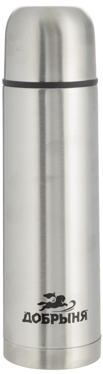 Термос Добрыня, 0,5 л. DO - 1801318520Дорожный термос Добрыня выполнен из нержавеющей стали с матовой полировкой. Внутренняя колба выполнена из высококачественной нержавеющей стали. Термос имеет вакуумную прослойку между внутренней колбой и внешней стенкой. Специальная термоизоляционная прокладка удерживает тепло. Термос снабжен плотно прилегающей закручивающейся пластиковой пробкой с нажимным клапаном. Для того чтобы налить содержимое термоса нет необходимости откручивать пробку. Достаточно надавить на клапан, расположенный в центре. Легкий и удобный, термос Добрыня станет незаменимым спутником в ваших поездках.Размер термоса (с учетом крышки): 7 х 7 х 24 см.Диаметр крышки (по верхнему краю): 6,5 см.