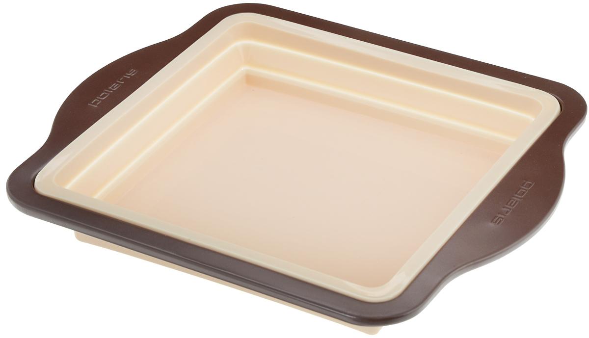 Форма для выпечки Polaris Vanila, квадратная, силиконовая, складная, 24,5 х 24,5 смС21300Квадратная форма Polaris Vanila выполнена из высококачественного силикона и оснащена ручками и краями из углеродистой стали. Система быстрого извлечения выпечки позволяет без труда достать горячий пирог, кекс и другую выпечку. Форма складывается, что поможет удобно хранить форму и экономить место на кухне. Выдерживает температуру не более 180°C.Можно мыть в посудомоечной машине.Общий размер формы (с учетом ручек): 32 х 27,5 см.Размер формы: 24,5 х 24,5 см.Высота стенки формы: 5 см.