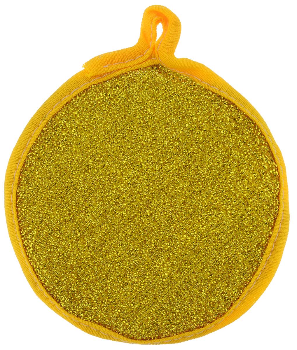 Губка для мытья посуды Youll love, двухсторонняя, для тефлона, цвет: золотой, слоновая кость13005Губка для мытья посуды Youll love изготовлена из поролона. Губка двухсторонняя: одна сторона выполнена из полипропиленовой металлизированной нити, а другая - из полимерных материалов. Губка подходит для очистки сильно загрязненных кухонных поверхностей, а также для мытья посуды из нержавеющей стали и с тефлоновым покрытием. Материал: полипропиленовая металлизированная нить, поролон, полимерные материалы. Размер губки: 12 см х 12 см х 2,5 см.