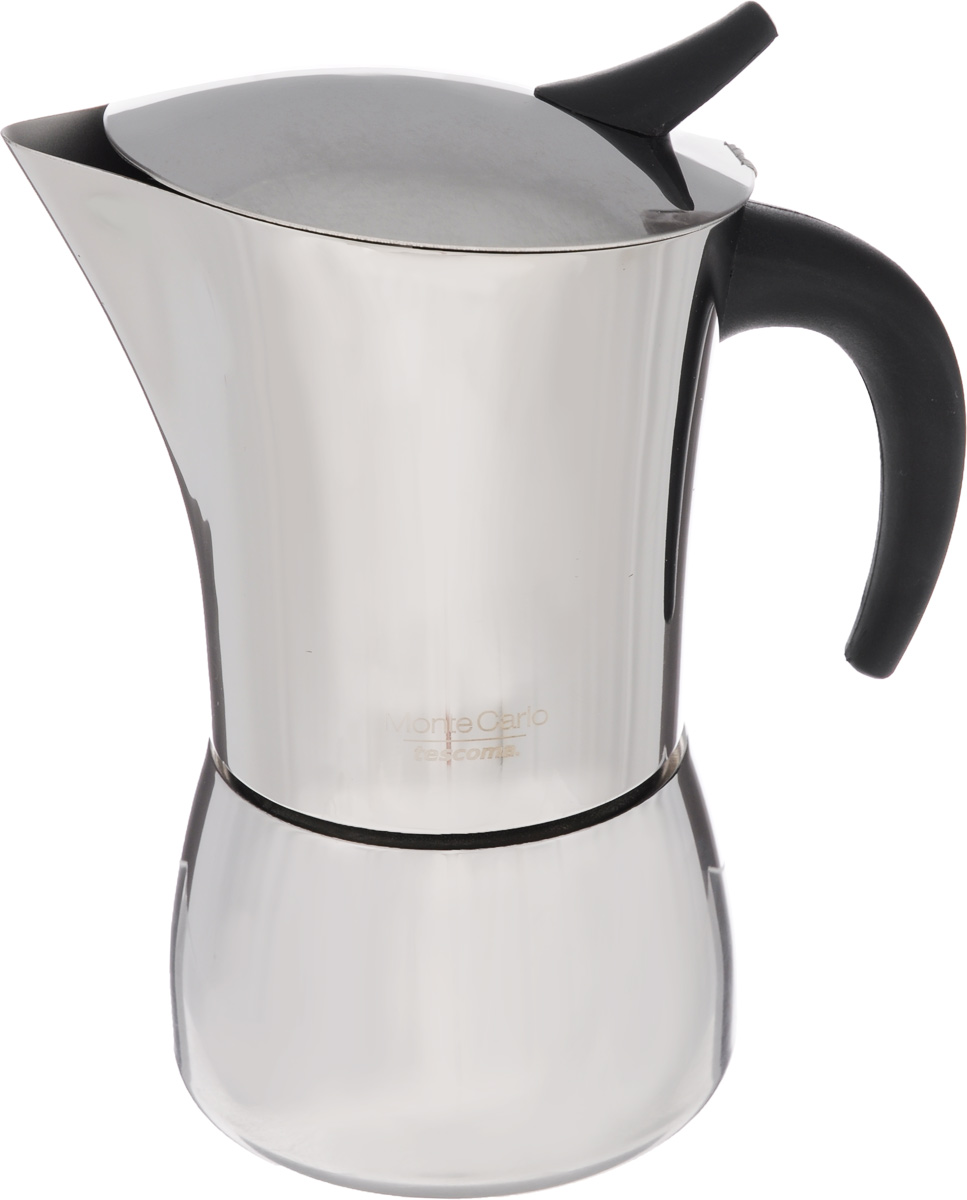 Кофеварка гейзерная Tescoma Monte Carlo, на 6 чашек68/5/3Компактная гейзерная кофеварка Tescoma Monte Carlo изготовлена из высококачественной нержавеющей стали. Объема кофе хватает на 6 чашек. Изделие оснащено удобной ручкой из пластика.Принцип работы такой гейзерной кофеварки - кофе заваривается путем многократного прохождения горячей воды или пара через слой молотого кофе. Удобство кофеварки в том, что вся кофейная гуща остается во внутренней емкости. Гейзерные кофеварки пользуются большой популярностью благодаря изысканному аромату. Кофе получается крепкий и насыщенный. Подходит для газовых, электрических, стеклокерамических и индукционных плит. Нельзя мыть в посудомоечной машине. Высота (с учетом крышки): 19 см.Диаметр (по верхнему краю): 10 см.