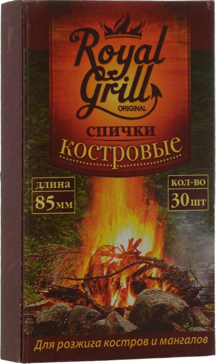 Спички RoyalGrill, костровые, 30 шт010-01199-23Спички RoyalGrill предназначены для розжига костров и мангалов. Они всегда выручат в плохую погоду на открытом воздухе. Состав: древесина, зажигательный состав.Длина спички: 8,5 см.Количество: 30 шт.