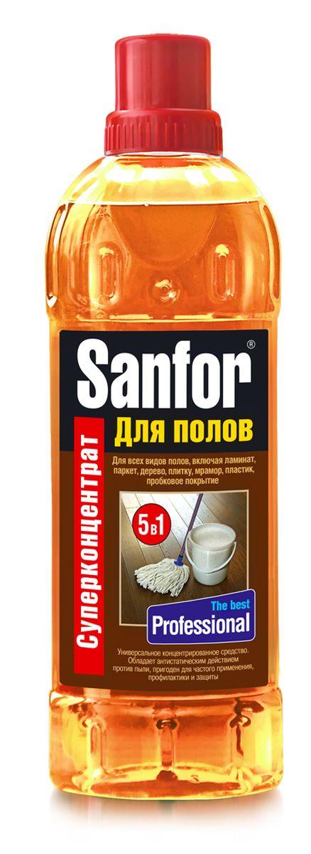 Средство для мытья полов Sanfor Профессионал, 920 мл391602Средство универсальное для мытья полов концентрированное Sanfor для полов подходит для ухода за любыми полами и поверхностями по всему дому: ламинат, линолеум, паркет, дерево, керамическая плитка, мрамор, пробковое покрытие, пластик, окрашенные поверхности. Оригинальный состав базируется на специально разработанной формуле с содержанием безопасных активных веществ и силиконов.