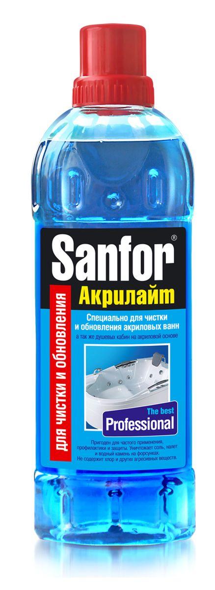 Гель для чистки акриловых ванн Sanfor Акрилайт, 920 мл68/5/4Чистящее средство для основательной чистки, обеззараживания и обновления акриловых ванн, душевых кабин, а также профилактики и очистки систем джакузи. Применим для эмалированных ванн, раковин, унитазов, керамики. Удаляет стойкие и застарелые загрязнения, мыльный налет, известковые отложения и водный камень.Создает пленку, которая защищает поверхность от быстрого загрязнения, облегчает последующий уход, продлевает срок службы и придает блеск на долгое время.