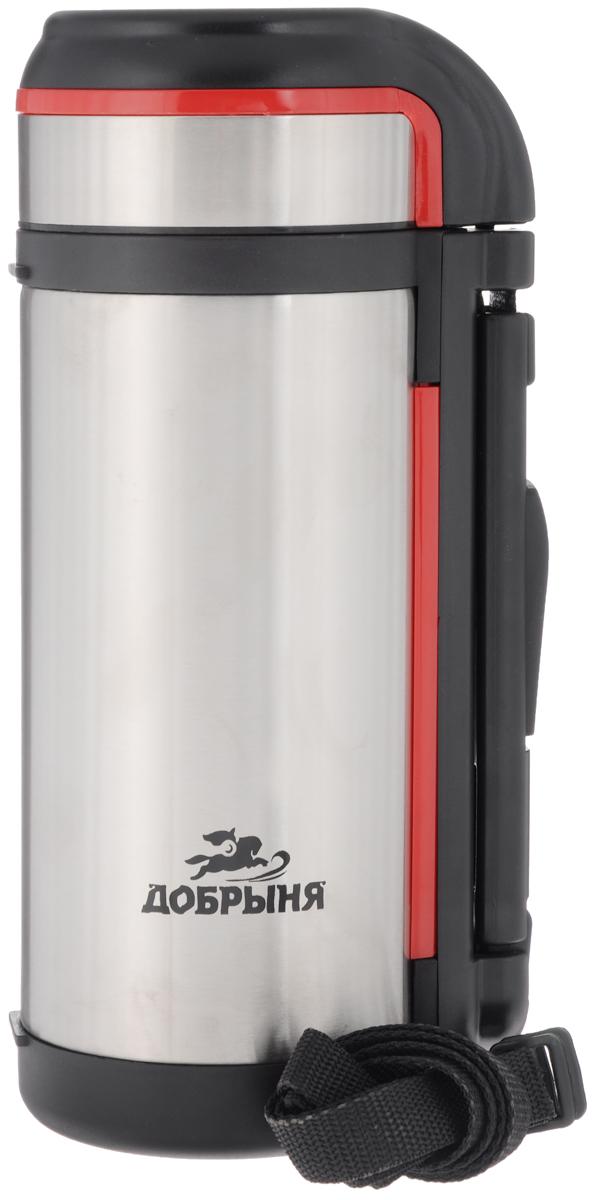 Термос Добрыня Спорт, с широким горлом, 1,2 лVT-1520(SR)Термос с широким горлом Добрыня Спорт, изготовленный из высококачественной нержавеющей стали 18/10, прост в использовании и многофункционален. Изделие имеет двойные стенки, что позволяет содержимому долго оставаться горячим или холодным. Термос снабжен удобной ручкой, крышкой-чашкой. Для удобной переноски предусмотрен специальный ремешок. Термос сохраняет температуру горячих или холодных продуктов до 24 часов. Не рекомендуется мыть в посудомоечной машине.Высота (с учетом крышки): 29,5 см.Диаметр горлышка: 6,5 см.Диаметр чашки: 10 см.Высота чашки: 5,5 см.