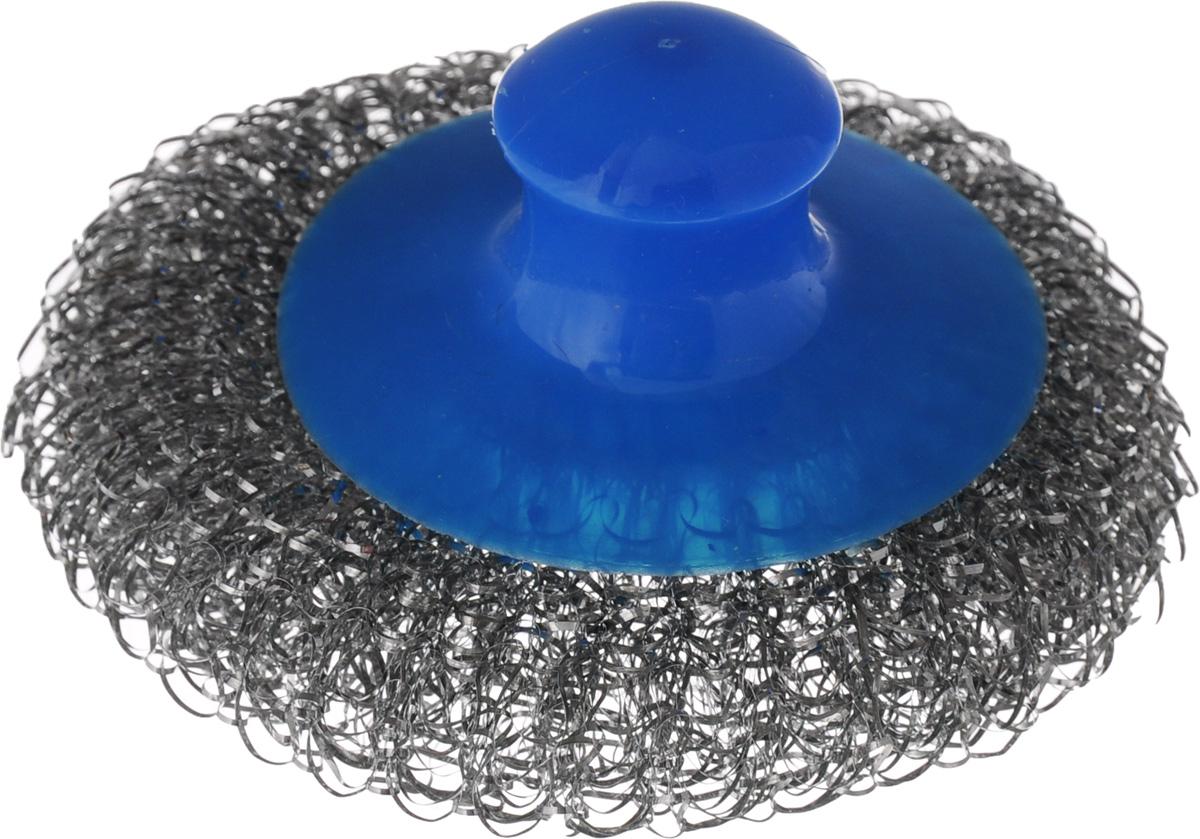 Мочалка для посуды Хозяюшка Мила, металлическая, с пластиковой ручкой, цвет: стальной, синий531-105Металлическая мочалка для посуды Хозяюшка Мила эффективно устраняет сильные загрязнения. Имеет долгий срок службы, не окисляется. Пластиковая ручка защищает руки от повреждений и обеспечивает комфорт при мытье. Прекрасно справляется с очисткой грилей, барбекю, решеток и других предметов для жарки. Не используйте для мытья посуды с антипригарным покрытием.