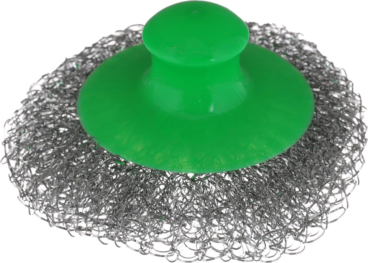Мочалка для посуды Хозяюшка Мила, металлическая, с пластиковой ручкой, цвет: стальной, зеленый13014Металлическая мочалка для посуды Хозяюшка Мила эффективно устраняет сильные загрязнения. Имеет долгий срок службы, не окисляется. Пластиковая ручка защищает руки от повреждений и обеспечивает комфорт при мытье. Прекрасно справляется с очисткой грилей, барбекю, решеток и других предметов для жарки. Не используйте для мытья посуды с антипригарным покрытием.