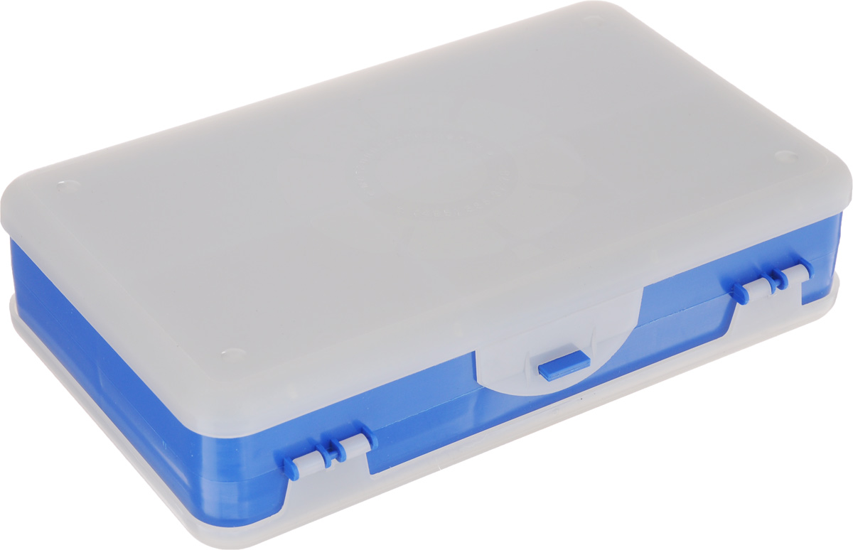 Шкатулка для мелочей Айрис, двухсторонняя, цвет: светло-серый, синий, 21,5 х 12,5 х 5 см. 533758119894Шкатулка для мелочей изготовлена из пластика. Шкатулка двухсторонняя, поэтому в ней можно хранить больше мелочей. Подходит для швейных принадлежностей, рыболовных снастей, мелких деталей и других бытовых мелочей. В одном отделении 4 секции, в другом - 5. Удобный и надежный замок-защелка обеспечивает надежное закрывание крышек. Изделие легко моется и чистится. Такая шкатулка поможет держать вещи в порядке.Размер самой большой секции: 21 х 6 х 2,3 см.Размер самой маленькой секции: 13 х 2,3 х 2,3 см.