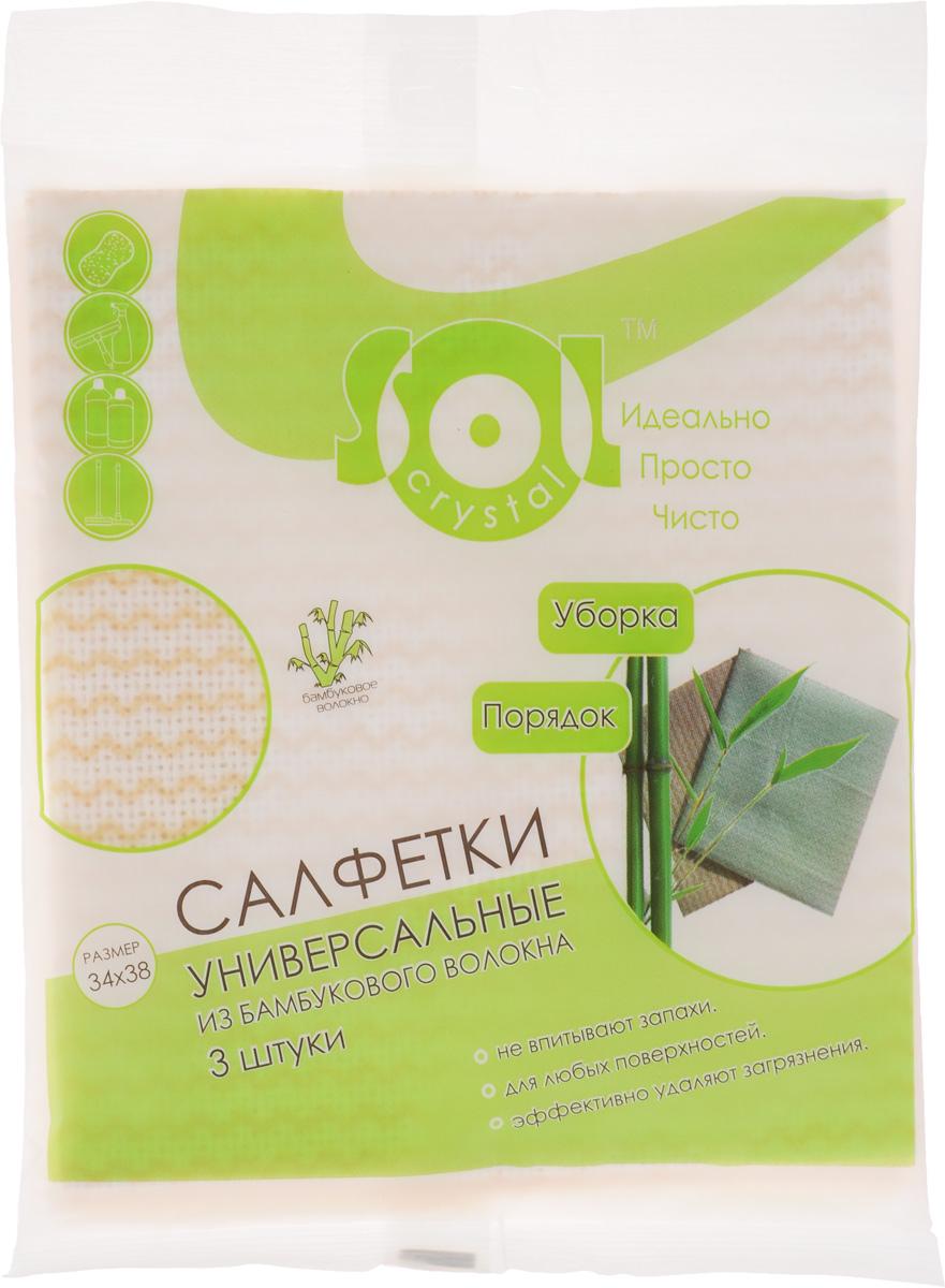 Салфетка Sol Crystal из бамбукового волокна, цвет: белый, желтый, 34 x 38 см, 3 шт790009Салфетки Sol Crystal, выполненные из бамбукового волокна, вискозы и полиэстера, предназначены для уборки. Благодаря трубчатой структуре волокон, жир и грязь не впитываются в ткань, легко вымываются обычной водой.Рекомендации по уходу:Бамбуковые салфетки не требуют особого ухода. После каждого использования их рекомендуется промыть под струей воды и просушить. Периодически рекомендуется простирывать салфетки мылом. Не следует стирать их с порошками, а также специальными очистителями или бытовыми моющими средствами. Кроме того не рекомендуется сушить салфетки на батарее.