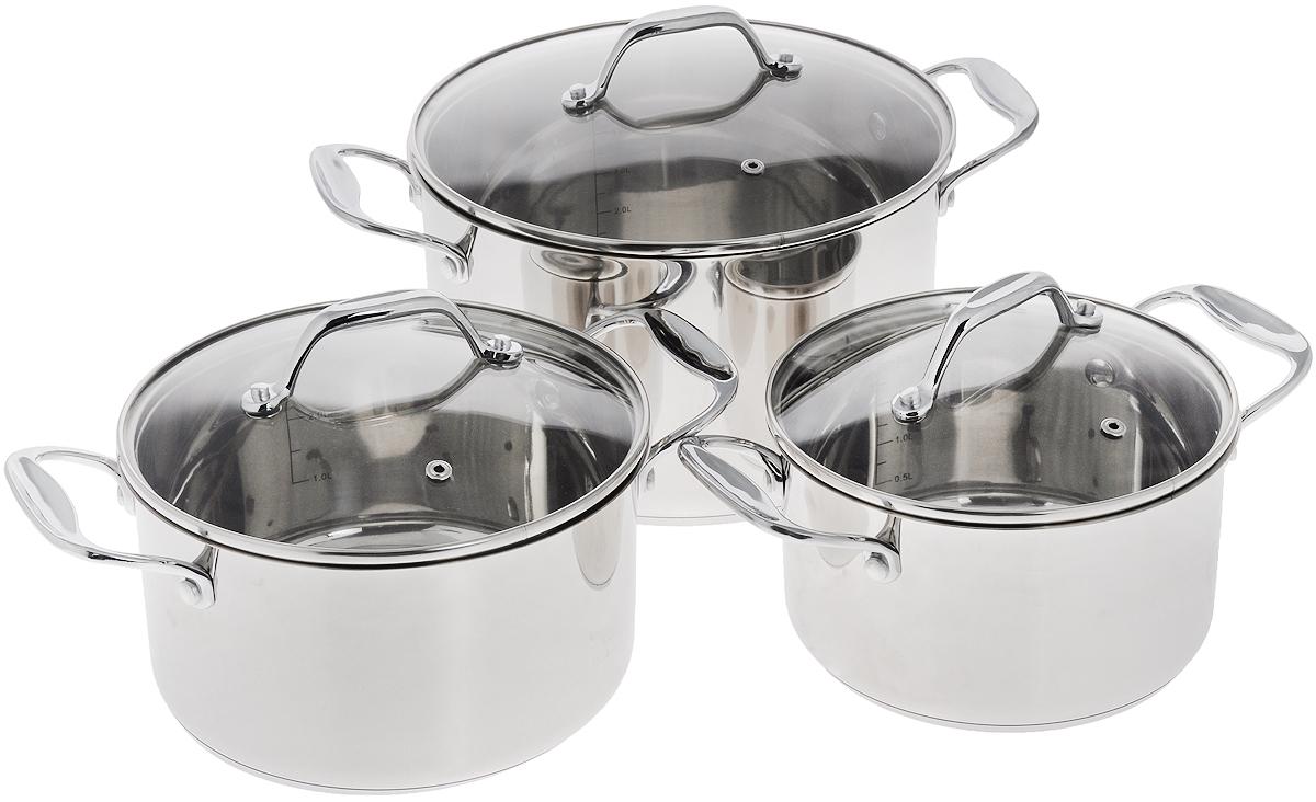 Набор кастрюль Добрыня с крышками, 6 предметов. DO-1707CL-1847Набор посуды Добрыня состоит из трех кастрюль с крышками. Посуда изготовлена из высококачественной нержавеющей стали, что гарантирует безупречный внешний вид, практичность и долговечность. Уникальный метод технологии дна с вштампованным, а затем вплавленным железом с хромом и никелем - это позволяет равномерно распределять и значительно дольше сохранять тепло по стенкам и дну посуды. Крышки выполнены из термостойкого стекла с отверстием для выпуска пара и ободком из нержавеющей стали. Кастрюли оснащены ручками. Изделия не окисляются, не подвергаются коррозии и устойчивы к царапинам.С отметками литража на внутренних стенках посуды вы легко сможете соблюдать пропорции рецептуры без применения дополнительных предметов.Эргономичный дизайн и функциональность набора Добрыня позволят вам наслаждаться процессом приготовления любимых блюд. Изделия подходят для использования на всех видах плит, включая индукционные. Можно мыть в посудомоечной машине.Диаметр кастрюль: 18 см; 20 см; 24 см.Высота кастрюль: 10 см; 11 см; 14 см.Ширина кастрюль (с учетом ручек): 27,5 см; 29,5 см; 34.Объем кастрюль: 2,5 л; 3,4 л; 6,3 л. УВАЖАЕМЫЕ КЛИЕНТЫ! Обращаем ваше внимание на тот факт, что объем кастрюли указан максимальный, с учетом полного наполнения до кромки. Шкала на внутренней стенке кастрюли имеет меньший литраж.