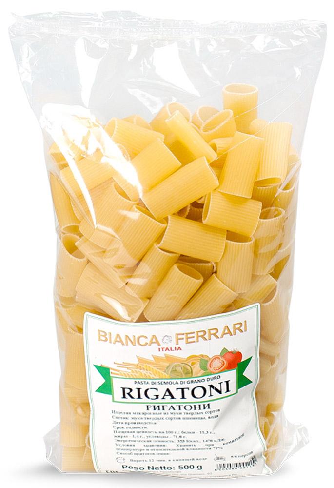 Bianca Ferrari Ригатони, 500 г0120710Bianca Ferrari Ригатони - Разновидность короткой пасты в виде полых рифленых трубочек. Используется для приготовления различных блюд на основе густого соуса, с кусочками мяса, овощей, курицы, морепродуктов и другой начинкой. Кроме того, благодаря такой форме ригатони считаются подходящими для фарширования и запеканок.