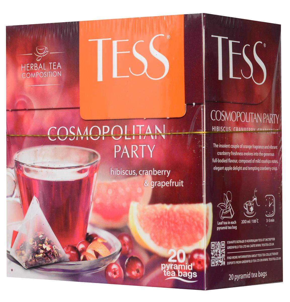 Tess Cosmopolitan Party травяной чай в пирамидках, 20 шт0120710Дерзкое сочетание апельсинового аромата и яркой свежести клюквы находит продолжение в щедром насыщенном вкусе травяного чая Tess Cosmopolitan Party, сложенном из мягких нот шиповника, тонкой яблочной сладости и заманчивой кислинки гибискуса