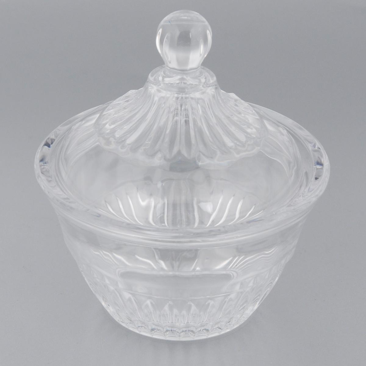 Конфетница Soga Princess, с крышкой, диаметр 11 см115510Элегантная конфетница Soga Princess, изготовленная из прочного стекла, имеет многогранную рельефную поверхность. Конфетница оснащена крышкой с удобной ручкой. Изделие предназначено для подачи сладостей (конфет, сахара, меда, изюма, орехов и многого другого). Она придает легкость, воздушность сервировке стола и создаст особую атмосферу праздника. Конфетница Soga Princess не только украсит ваш кухонный стол и подчеркнет прекрасный вкус хозяина, но и станет отличным подарком для ваших близких и друзей. Можно мыть в посудомоечной машине.Диаметр конфетницы (по верхнему краю): 11 см.Высота конфетницы (с учетом крышки): 12,5 см.