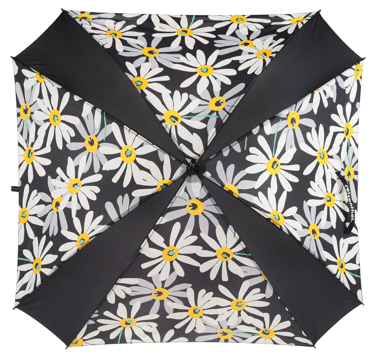 Зонт-трость Umbrella Margarite, механический, цвет: черный, белый, желтый. YM7038REM12-CAM-GREENBLACKСтильный механический зонт-трость  Umbrella Margarite  имеет каркас из 8 металлических спиц и купол, выполненный из прочного полиэстера. Купол оформлен цветочный принтом. Рукоятка закругленной формы разработана с учетом требований эргономики и выполнена из пластика. Зонт механического сложения: купол открывается и закрывается вручную до характерного щелчка. Такой зонт не только надежно защитит вас от дождя, но и станет стильным аксессуаром.