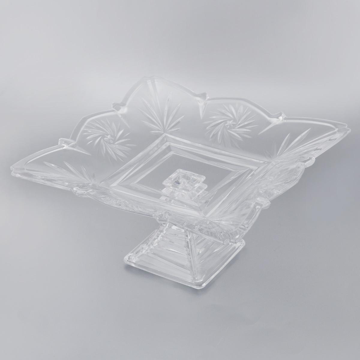 Конфетница на ножке Soga Picasso, 30 х 30 см115510Элегантная конфетница Soga Picasso на ножке, изготовленная из прочного стекла, имеет многогранную рельефную поверхность. Конфетница предназначена для красивой сервировки сладостей. Изделие придется по вкусу и ценителям классики, и тем, кто предпочитает утонченность и изящность. Конфетница Soga Picasso украсит сервировку вашего стола и подчеркнет прекрасный вкус хозяина, а также станет отличным подарком.Можно мыть в посудомоечной машине.Размер по верхнему краю: 30 х 30 см.Высота: 15,5 см.