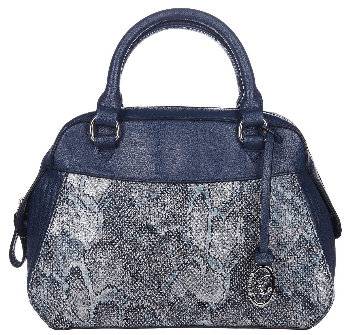Сумка женская Jane Shilton, цвет: синий, серый. 206023008Стильная женская сумка Jane Shilton, выполненная из искусственной кожи, дополнена вставками из искусственной кожи под рептилию. Изделие имеет одно основное отделение, закрывающееся на застежку-молнию. Внутри находятся прорезной карман на застежке-молнии и накладной открытый карман. Модель оснащена двумя удобными ручками и дополнена фирменным брелоком. В комплект входит съемный плечевой ремень. Роскошная сумка внесет элегантные нотки в ваш образ и подчеркнет ваше отменное чувство стиля.