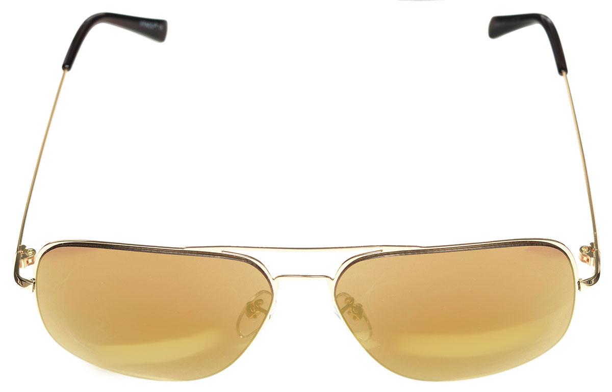 Очки солнцезащитные женские Vitacci, цвет: золотой, коричневый. G163INT-06501Стильные солнцезащитные очки Vitacci выполнены из металла с элементами из высококачественного пластика.Линзы данных очков имеют степень затемнения С3, а также обладают высокоэффективным поляризационным покрытием со степенью защиты от ультрафиолетового излучения UV400. Используемый пластик не искажает изображение, не подвержен нагреванию и вредному воздействию солнечных лучей. Оправа очков легкая, прилегающей формы, дополнена носоупорами и поэтому обеспечивает максимальный комфорт.Такие очки защитят глаза от ультрафиолетовых лучей, подчеркнут вашу индивидуальность и сделают ваш образ завершенным.