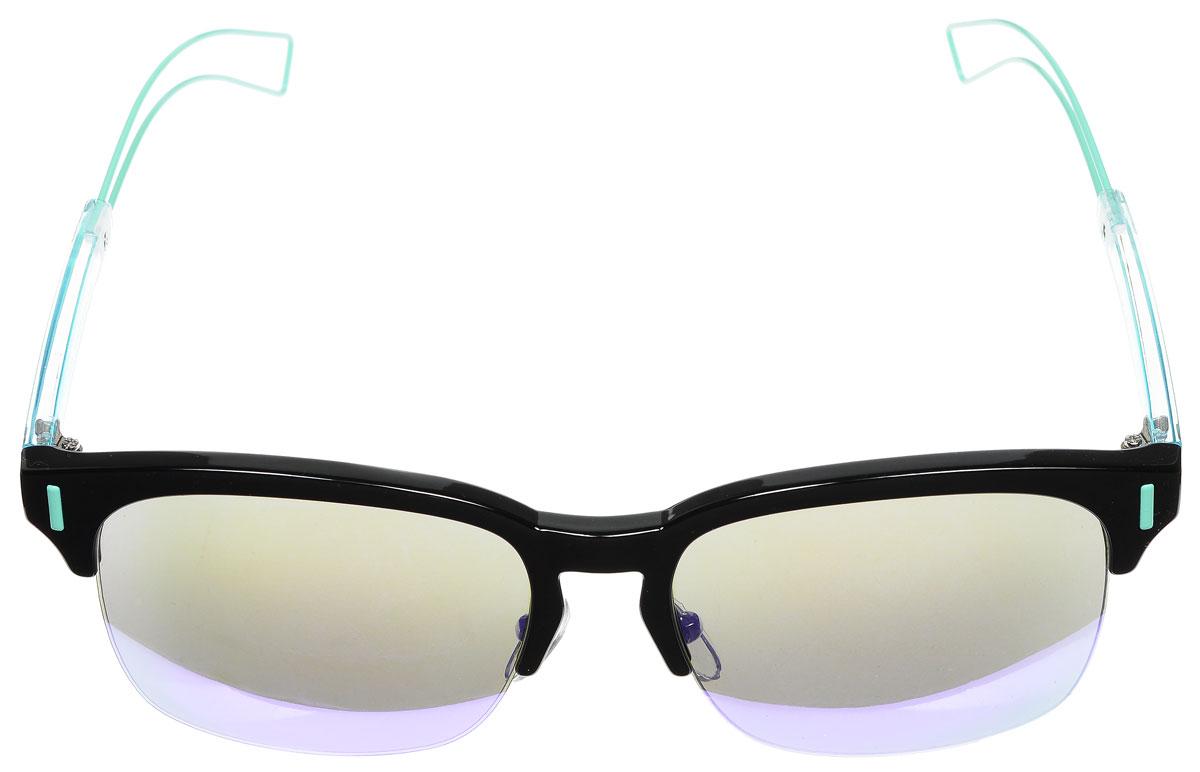 Очки солнцезащитные женские Vitacci, цвет: черный, голубой. O163INT-06501Стильные солнцезащитные очки Vitacci выполнены из металла и высококачественного пластика.Линзы данных очков обладают высокоэффективным поляризационным покрытием со степенью защиты от ультрафиолетового излучения UV400. Используемый пластик не искажает изображение, не подвержен нагреванию и вредному воздействию солнечных лучей. Оправа очков легкая, прилегающей формы, дополнена носоупорами и поэтому обеспечивает максимальный комфорт.Такие очки защитят глаза от ультрафиолетовых лучей, подчеркнут вашу индивидуальность и сделают ваш образ завершенным.