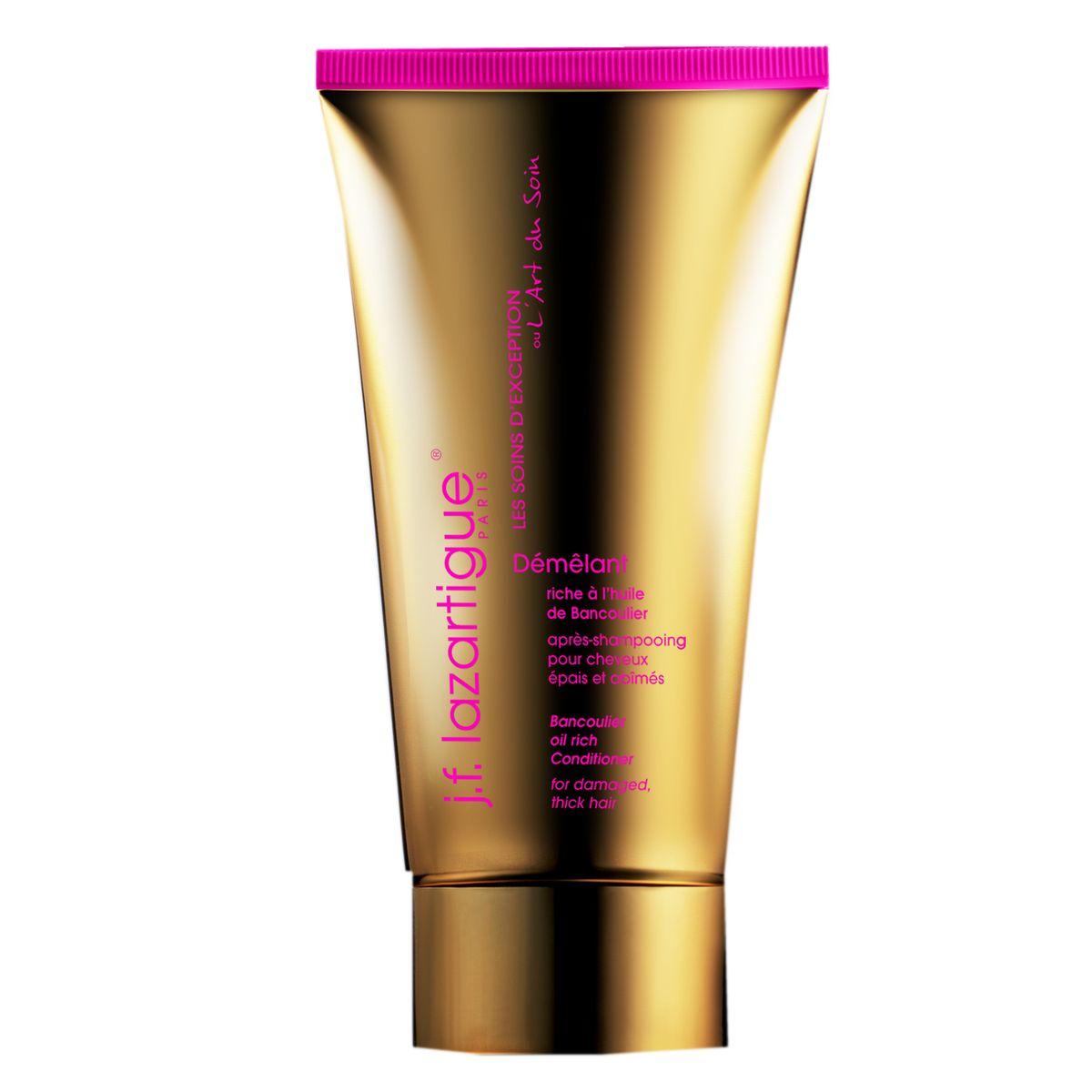 J.F.Lazartigue Кондиционер Банкульер (для густых волос, в том числе поврежденных) 150 млSatin Hair 7 BR730MNИсключительное укрепляющее средство для волос с маслом ореха кукуйи, богатым витаминами А, Е и F. Предназначено для густых (не тонких) сухих волос, склонных к повреждению, ломких и тусклых. Ухаживая изнутри, улучшает состояние потерявших жизненную силу волос – питает, увлажняет, препятствует их дегидратации и ломкости. Смягчает непокорные густые волосы, делает их более гладкими и послушными. Превосходно сочетается с другими средствами J.F. LAZARTIGUE Банкульер (шампунем и средствами из набора Незаменимый дуэт: эссенциальным кремом и сывороткой).
