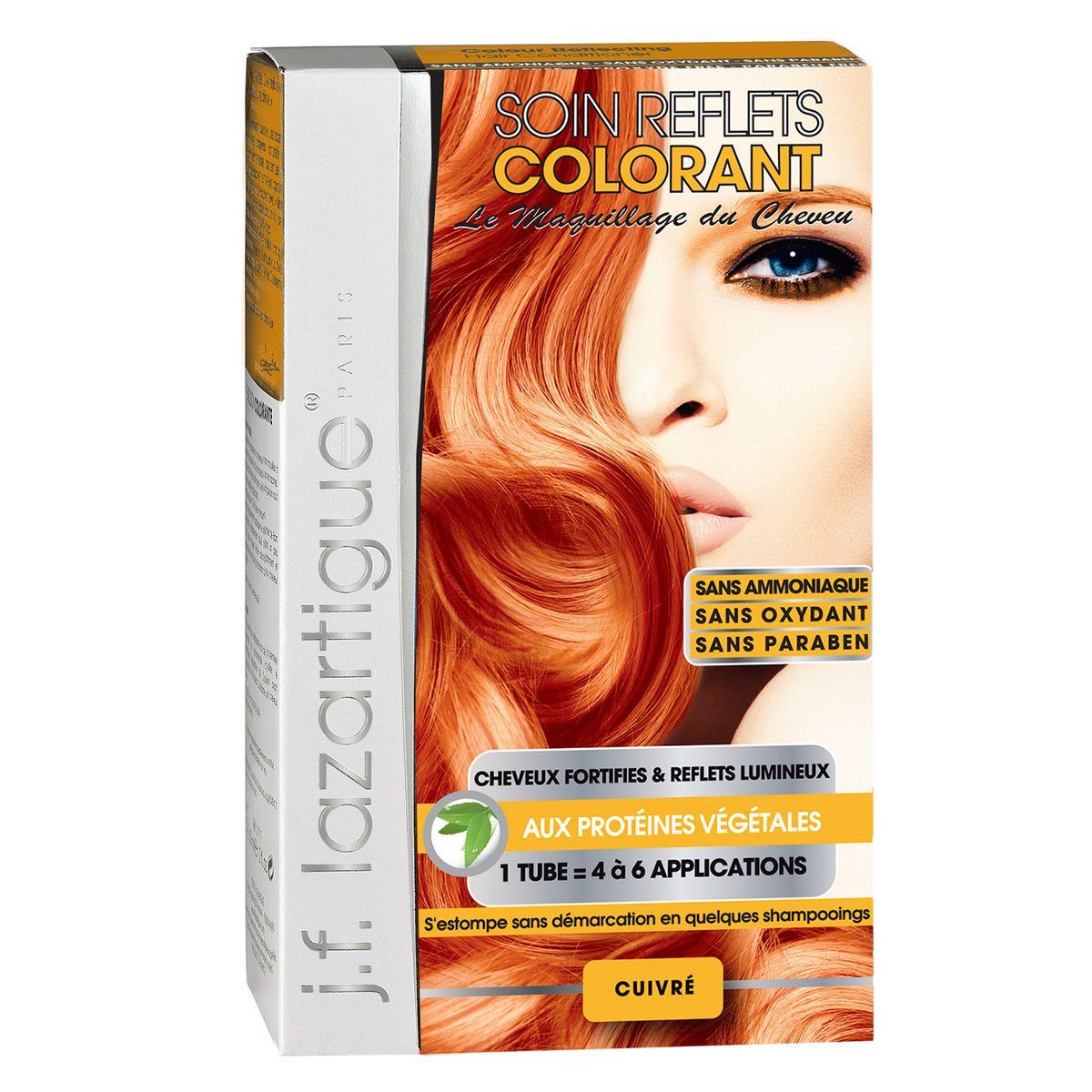 J.F.Lazartigue Оттеночный кондиционер для волос Медный 100 мл766910Оттеночный кондиционер J.F.LAZARTIGUE – это лечебный макияж для Ваших волос. Два эффекта: кондиционирование волос и легкий оттенок. Особенности: придает новый или более теплый (или холодный) оттенок, делает тон темнее или акцентирует цвет, оживляет естественный цвет или придает яркость тусклым и выцветшим на солнце волосам. Закрашивает небольшой процент седины! После мытья волос шампунем (3-6 раз) смывается. Для достижения индивидуального оттенка можно смешать два разных кондиционера: добавить к выбранному ТЕМНЫЙ РЫЖИЙ (Auburn), МЕДНЫЙ (Copper) и т.п. Не осветляет волосы. Не содержит аммиака и перекиси водорода. Не содержит парабенов. Не предназначен для окрашивания бровей и ресниц.
