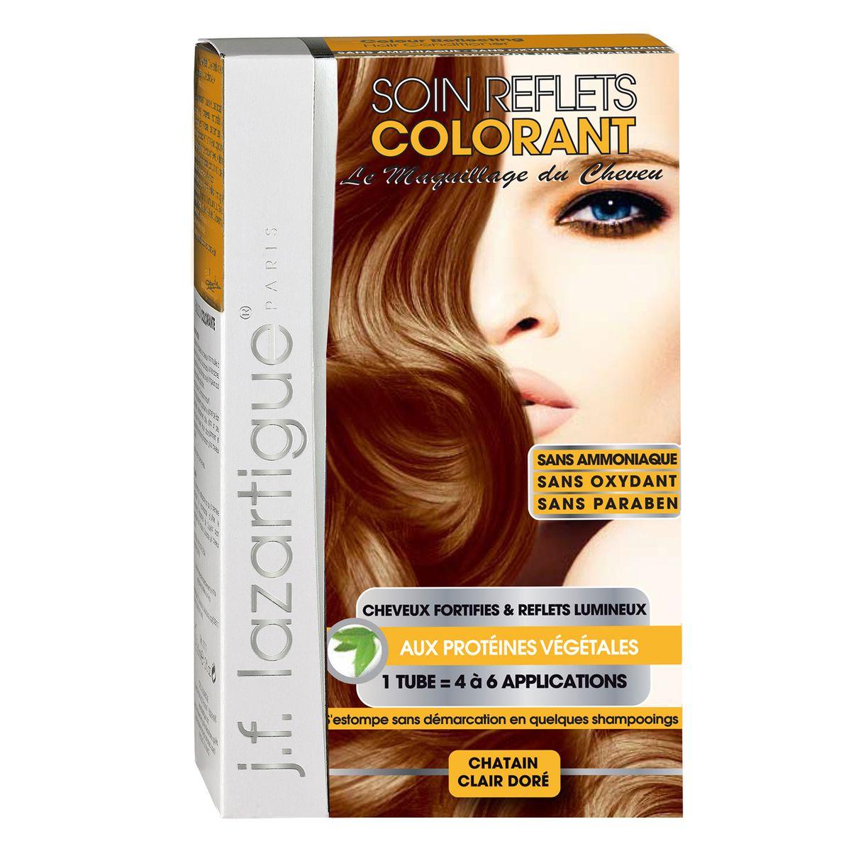 J.F.Lazartigue Оттеночный кондиционер для волос Золотистый светлый каштан 100 мл766936Оттеночный кондиционер J.F.LAZARTIGUE – это лечебный макияж для Ваших волос. Два эффекта: кондиционирование волос и легкий оттенок. Особенности: придает новый или более теплый (или холодный) оттенок, делает тон темнее или акцентирует цвет, оживляет естественный цвет или придает яркость тусклым и выцветшим на солнце волосам. Закрашивает небольшой процент седины! После мытья волос шампунем (3-6 раз) смывается. Для достижения индивидуального оттенка можно смешать два разных кондиционера: добавить к выбранному ТЕМНЫЙ РЫЖИЙ (Auburn), МЕДНЫЙ (Copper) и т.п. Не осветляет волосы. Не содержит аммиака и перекиси водорода. Не содержит парабенов. Не предназначен для окрашивания бровей и ресниц.
