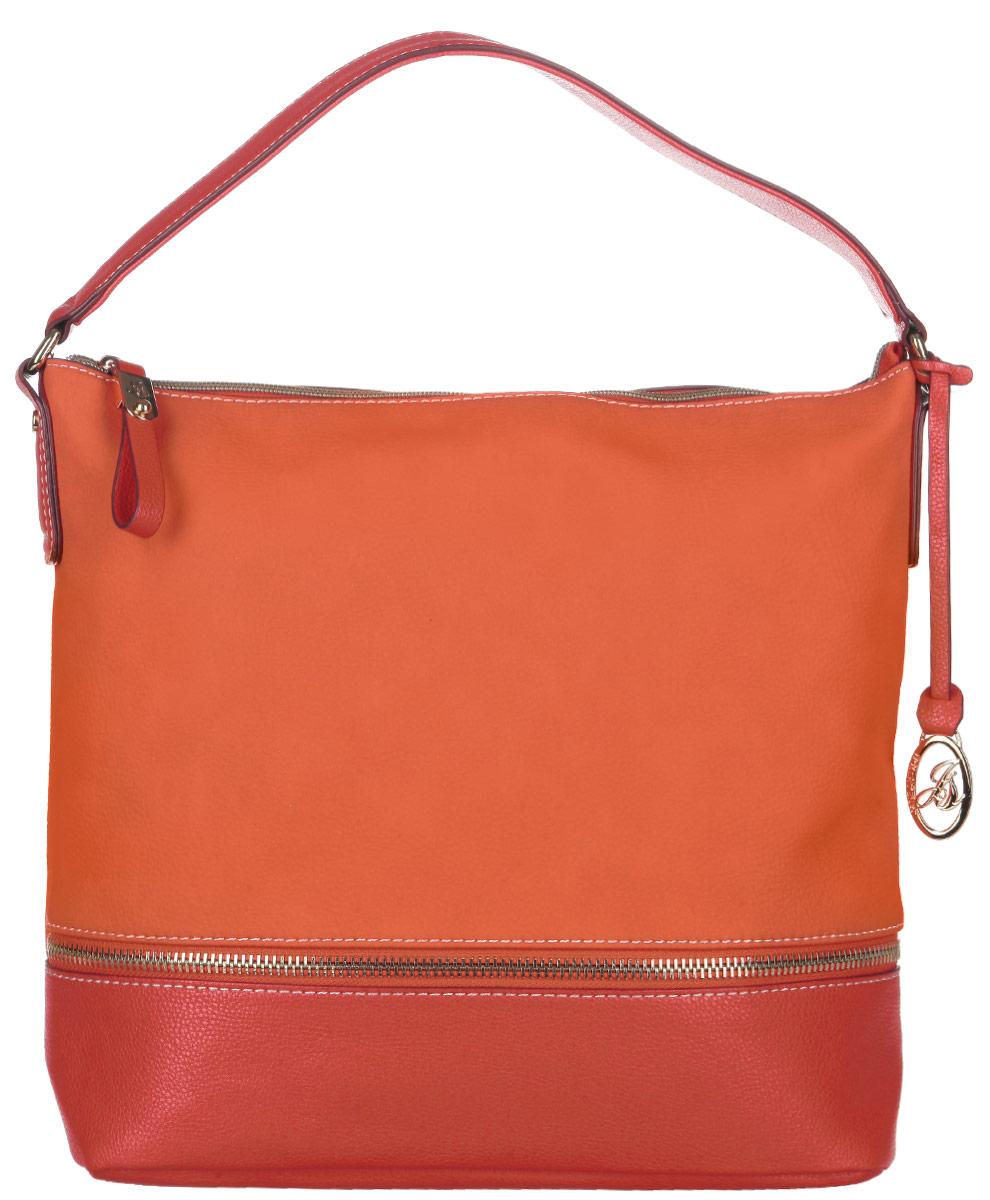 Сумка женская Jane Shilton, цвет: морковный, красный. 2076L39845800Стильная женская сумка Jane Shilton выполнена из искусственной кожи и дополнена фирменным брелоком. Лицевая сторона оформлена декоративной молнией. Изделие имеет одно основное отделение, разделенное пополам карманом-средником на застежке-молнии. Закрывается сумка на застежку-молнию. Внутри находятся прорезной карман на застежке-молнии и накладной открытый карман. Снаружи, на задней стенке расположен прорезной карман на застежке-молнии. Модель оснащена одной ручкой. Роскошная сумка внесет элегантные нотки в ваш образ и подчеркнет ваше отменное чувство стиля.