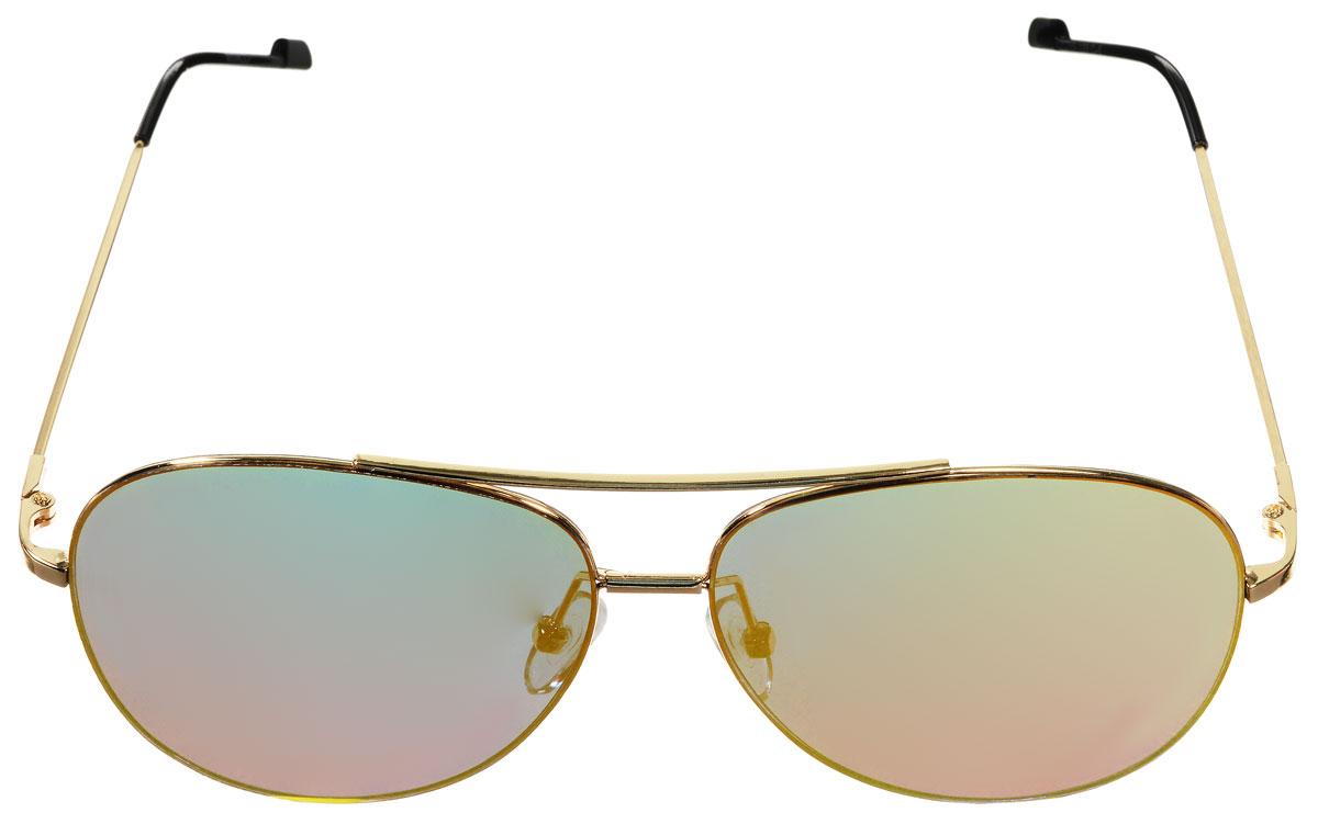 Очки солнцезащитные женские Vitacci, цвет: золотой, черный. O186BM8434-58AEСтильные солнцезащитные очки Vitacci выполнены из металла с элементами из высококачественного пластика.Линзы данных очков имеют степень затемнения С6, а также обладают высокоэффективным поляризационным покрытием со степенью защиты от ультрафиолетового излучения UV400. Используемый пластик не искажает изображение, не подвержен нагреванию и вредному воздействию солнечных лучей. Оправа очков легкая, прилегающей формы, дополнена носоупорами и поэтому обеспечивает максимальный комфорт.Такие очки защитят глаза от ультрафиолетовых лучей, подчеркнут вашу индивидуальность и сделают ваш образ завершенным.