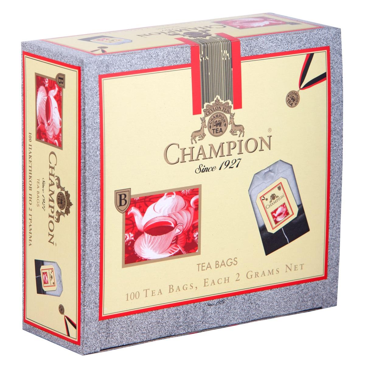 Champion черный листовой чай в пакетиках, 100 шт101246Чай Чемпион с богатым вкусом, дает возможность любителям оценить настоящий вкус напитка. В его состав входит смесь лучших сортов из Индии, Цейлона и Кении.