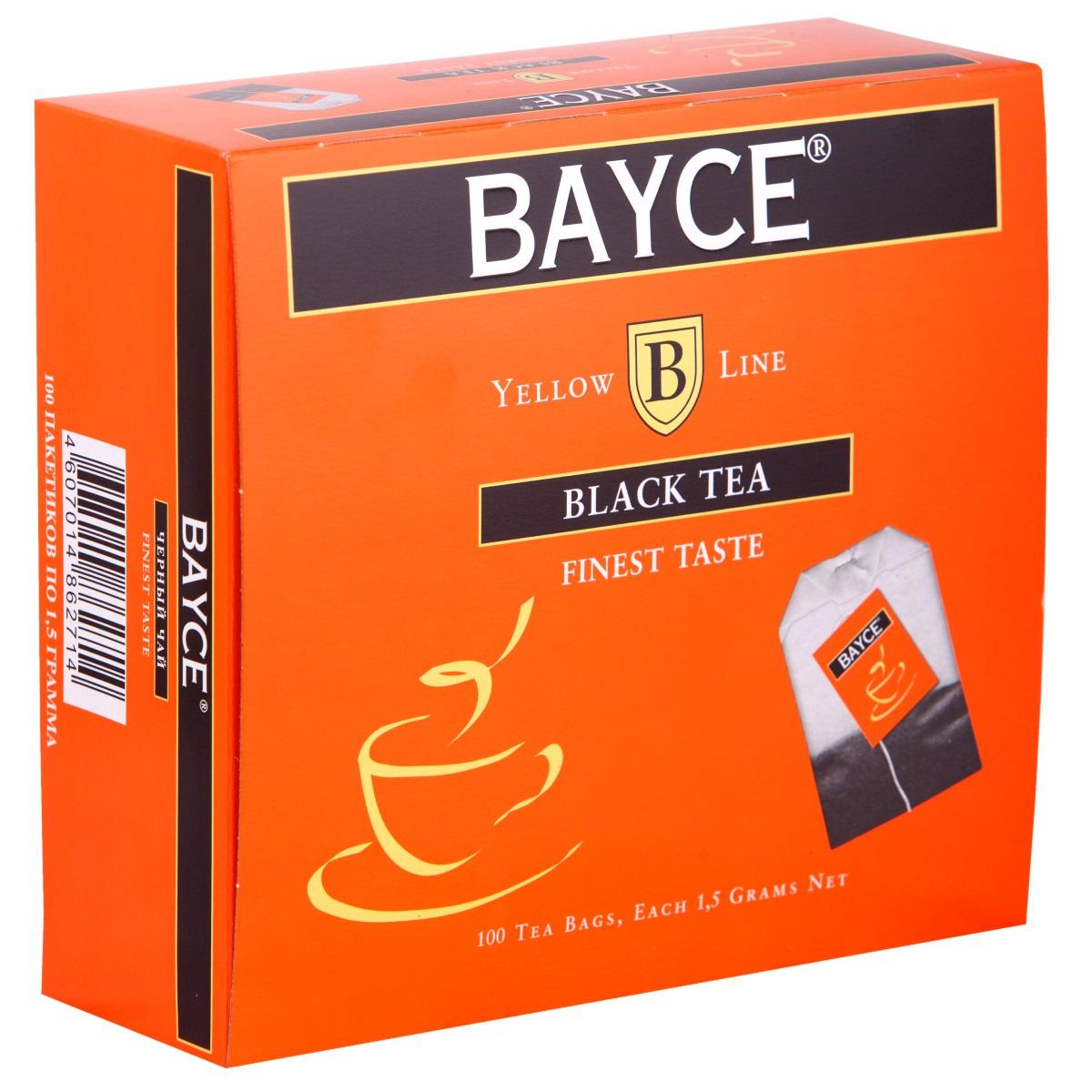 Bayce Файнест черный чай в пакетиках, 100 шт0120710Bayce Файнест - превосходный мелколистовой чай, собранный на лучших чайных плантациях Индии, Кении и острова Цейлон. Приятный вкус и полезные свойства делают этот сорт чая особенно привлекательным.