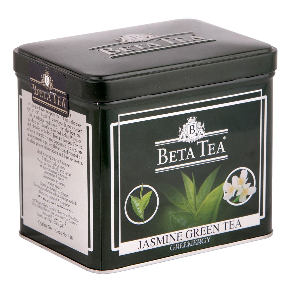 Beta Tea Зеленый с жасмином листовой чай, 100 г4607014860079Beta Tea предлагает вам насладиться целебными качествами зеленого чая с лепестками тропического жасмина, цветки которого собирают на горных склонах до восхода солнца, чтобы сохранить их нежный аромат. Настой обладает тонким цветочным ароматом и мягким вкусом.