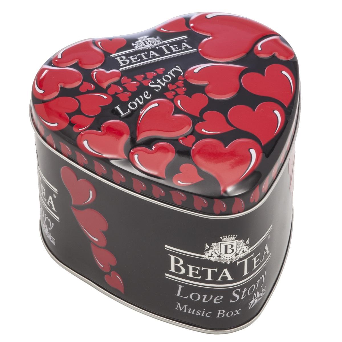 Beta Tea Любовная история черный чай, 100 г (музыкальная шкатулка)101246Черный цейлонский байховый среднелистовой чайBeta Любовная история. Оригинальная упаковка чая в виде сердца с музыкальным механизмом станет идеальным подарком по любому поводу.Подарок от всего сердца - любовная история, сокрытая в музыкальной шкатулке с романтичной мелодией и огненно-красными символами страсти!