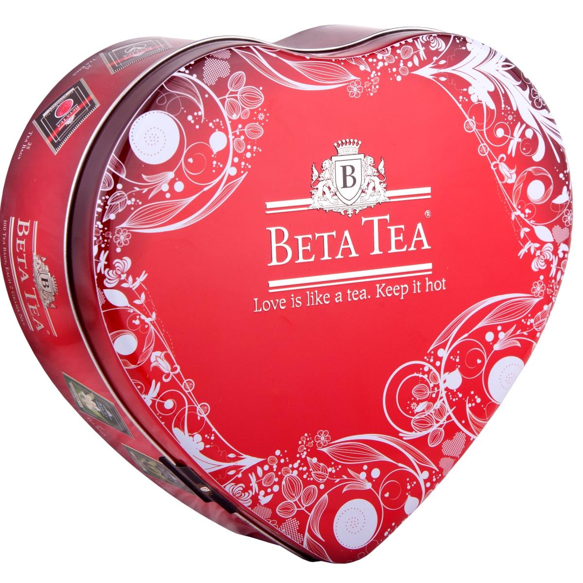 Beta Tea Сердце чайный набор, 100 шт (подарочная упаковка)0120710Beta Tea Сердце - отличный подарок для любимых с лучших чайных плантаций Шри-Ланки. Набор включает в себя:Чай Отборное качество (25 шт., 50 г). Его поставляют лучшие чайные плантации Шри-Ланки. Любители крепкого чая с терпким вкусом по достоинству оценят этот напиток.Чай Beta Tea Малина (25 шт., 50 г). Он содержит в себе неповторимый аромат малины, что придает напитку изысканный вкус. Этот чай, собранный с самых лучших плантаций Цейлона, производится в экологически чистых условиях при помощи современных технологий.Зеленый чай Beta Tea (25 шт., 50 г). Он занимает особое место в ассортименте компании. Основная задача при производстве этого сортасостоит в том, чтобы сохранить лечебные природные биологически активные вещества свежих листьев таким образом, чтобы они смогли высвободиться во время заваривания.Зеленый чай с жасмином Beta Tea (25 шт., 50 г) предлагает вам насладиться целебными качествами зеленого чая с лепестками тропического жасмина, цветки которого собирают на горных склонах до восхода солнца, чтобы сохранить их нежный аромат. Настой обладает тонким цветочным ароматом и мягким вкусом.