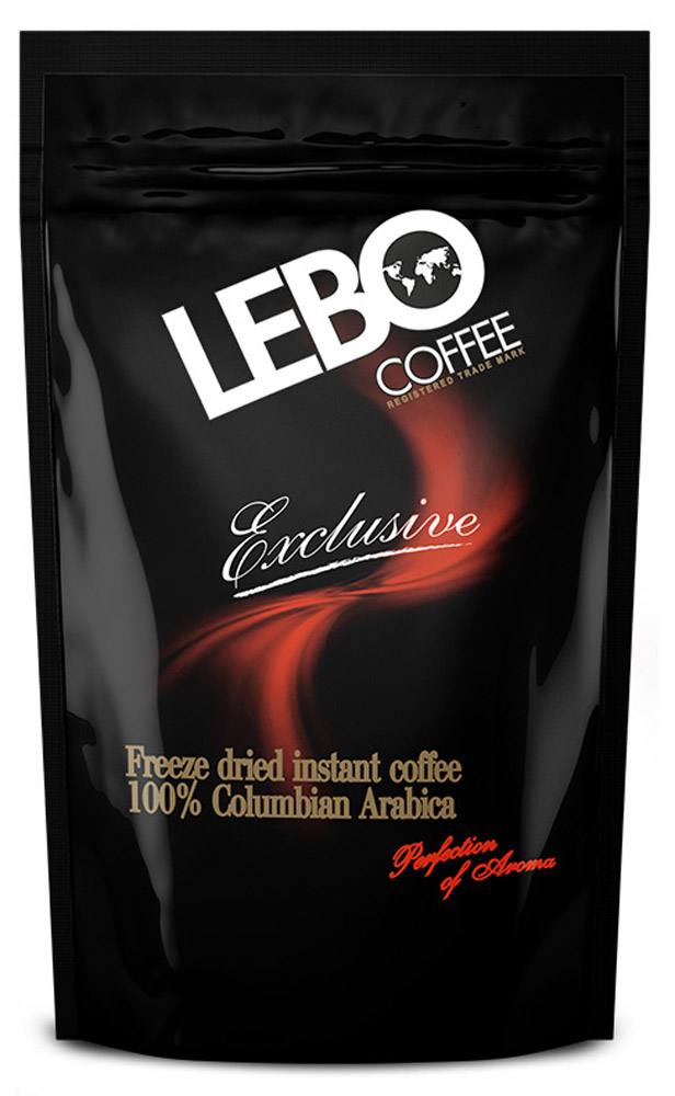 Lebo Exclusive кофе растворимый, 100 г (пакет)4602076000906Натуральный растворимый сублимированный кофе Lebo Exclusive приготовлен из отборных сортов кофе, выращенных на высокогорных плантациях Колумбии. Вкус кофе насыщенный, богатый, с долгим фруктово-винным послевкусием. С самого первого глотка его бодрящий вкус и деликатный, богатый аромат покорит даже самого настоящего гурмана.