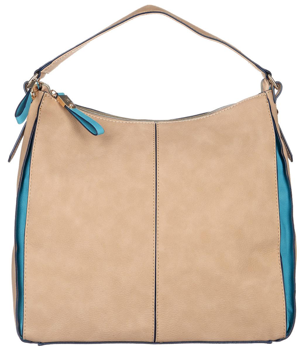 Сумка женская Jane Shilton, цвет: бежевый, бирюзовый. 205410130-11Стильная женская сумка Jane Shilton, выполненная из искусственной кожи, дополнена фирменным брелоком. Изделие имеет одно основное отделение, закрывающееся на застежку-молнию. Внутри находятся прорезной карман на застежке-молнии и накладной открытый карман. Снаружи, на задней стенке расположен прорезной карман на застежке-молнии. Модель оснащена одной удобной ручкой. Роскошная сумка внесет элегантные нотки в ваш образ и подчеркнет ваше отменное чувство стиля.