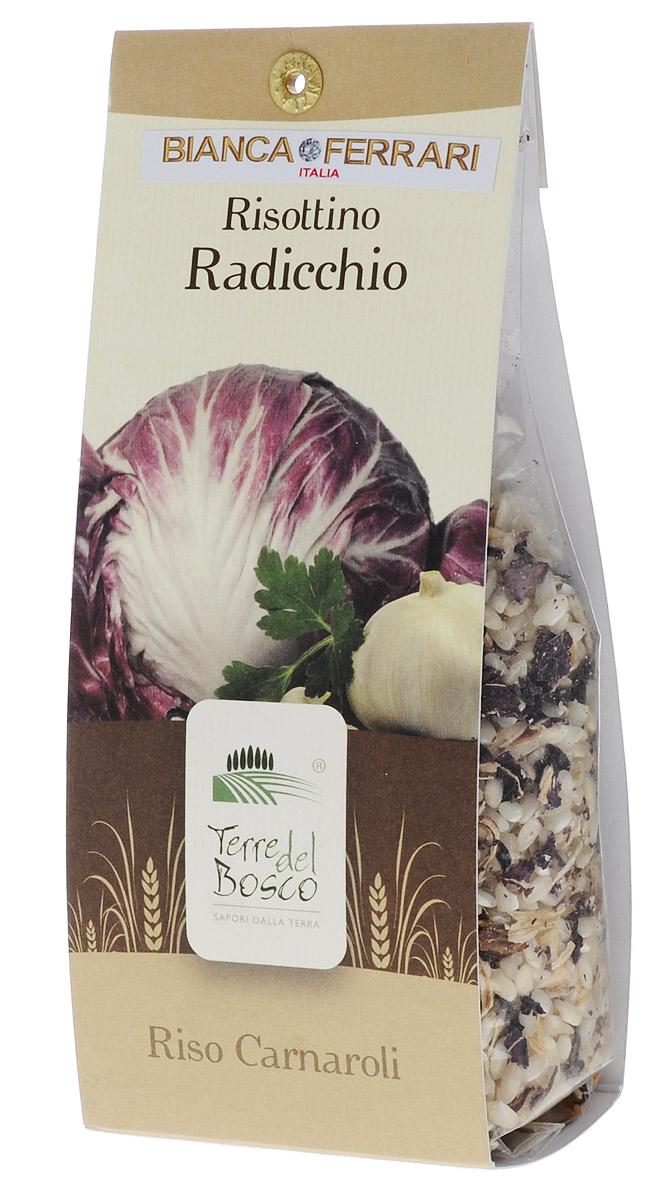 Terre Del Bosco Радиккьо рис для ризотто, 250 гBF.005.RATerre Del Bosco Радиккьо - превосходный тонкий рис высшего сорта с луком и цикорием для ризотто. В состав входят три вида цикория: радиччио, эскариол, а также итальянский цикорий.Варить в подсоленной кипящей воде, медленно помешивая.