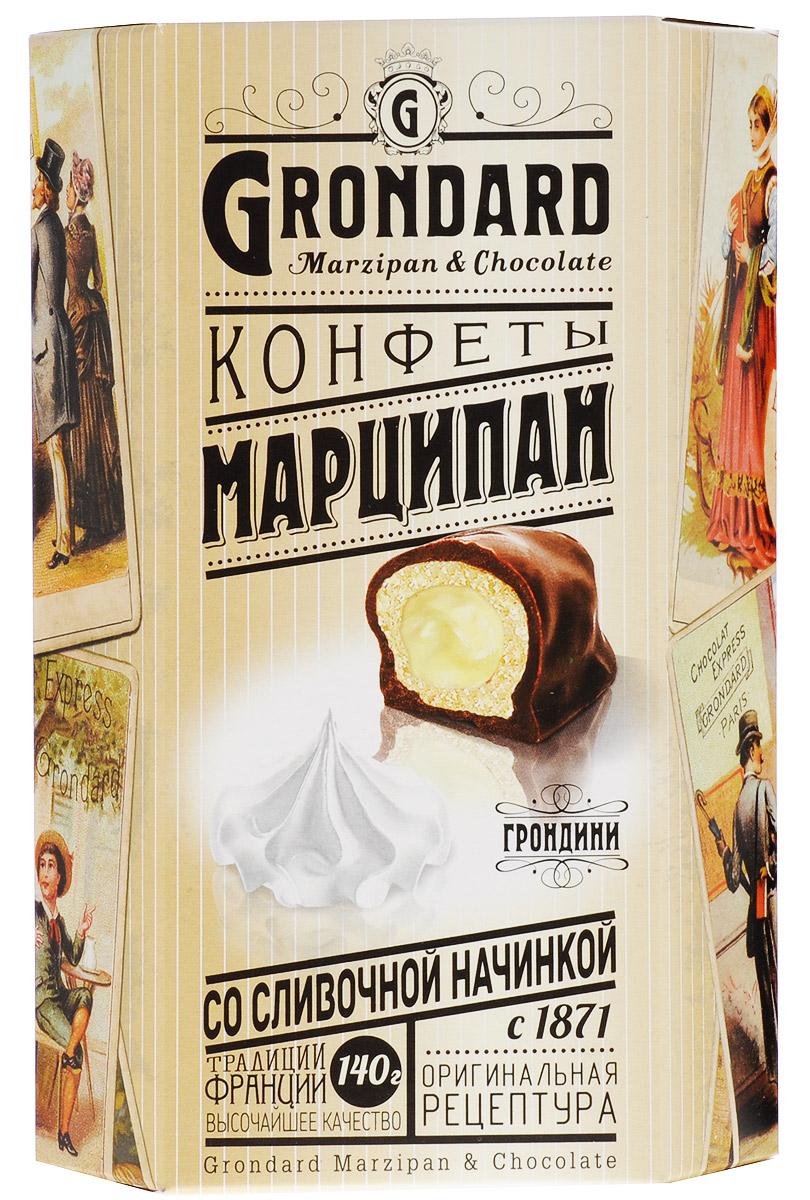 Grondard Marzipan конфеты марципановые со сливочной начинкой в шоколадной глазури, 140 г77122268/77099244/77096514Шоколадные конфеты Grondard Marzipan станут отличным подарком для близких: эти нежные конфеты в классическом исполнении с изысканными начинками, подарят истинное наслаждение великолепным вкусом. Такие конфеты будут уместны для вечера с приятным вам человеком, для того, чтобы пойти с ними в гости, подарить на празднике или просто побаловать себя за вечерним чаепитием. Их изысканный и оригинальный марципановый вкус поможет перенестись в атмосферу мечтаний и грез. Очаруйтесь их вкусом, оцените все грани этого изящного лакомства от компании Grondard.