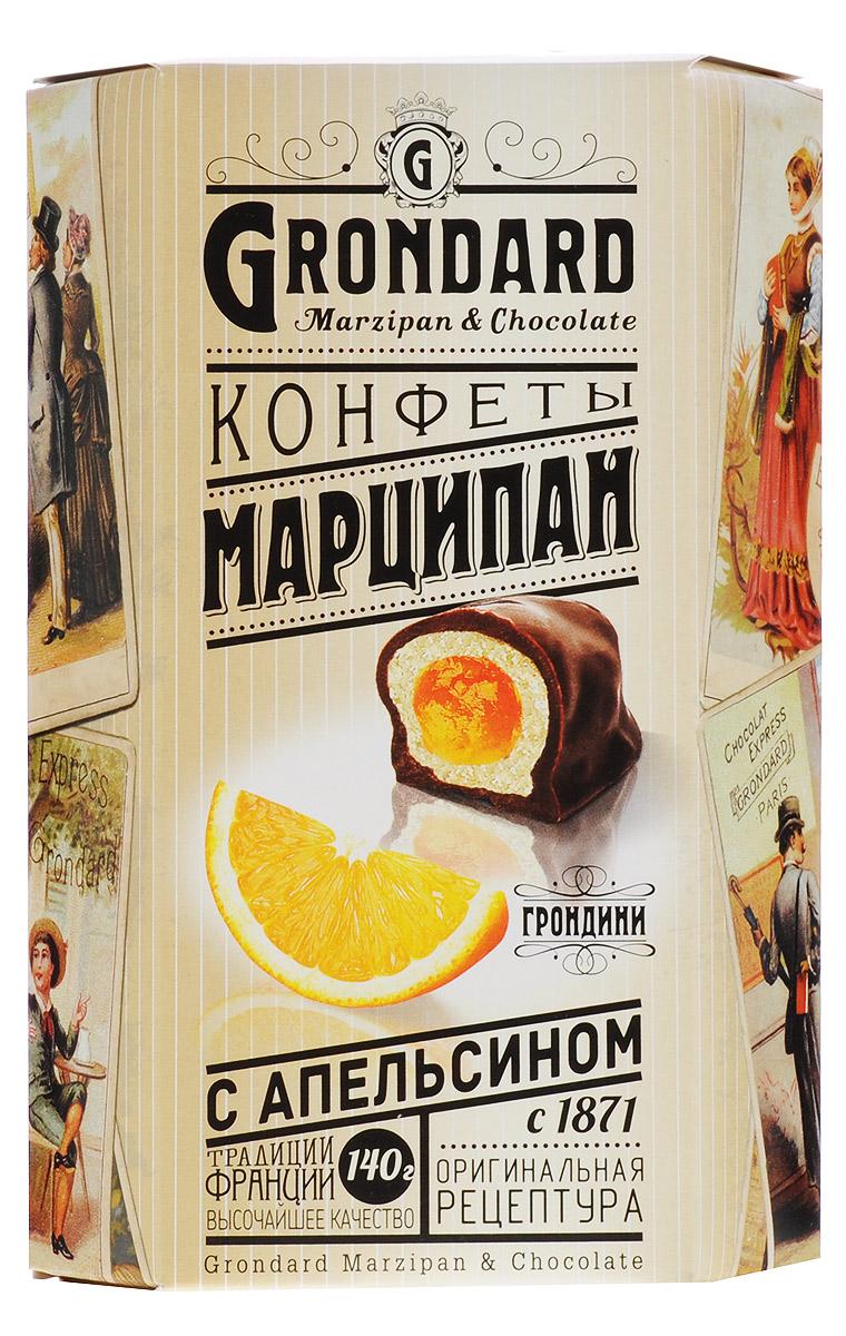 Grondard Marzipan конфеты марципановые с апельсином в шоколадной глазури, 140 г0120710Шоколадные конфеты Grondard Marzipan станут отличным подарком для близких: эти нежные конфеты в классическом исполнении с изысканными начинками подарят истинное наслаждение великолепным вкусом. Такие конфеты будут уместны для вечера с приятным вам человеком, для того, чтобы пойти с ними в гости, подарить на празднике или просто побаловать себя за вечерним чаепитием. Их изысканный и оригинальный марципановый вкус поможет перенестись в атмосферу мечтаний и грез. Очаруйтесь их вкусом, оцените все грани этого изящного лакомства от компании Grondard.