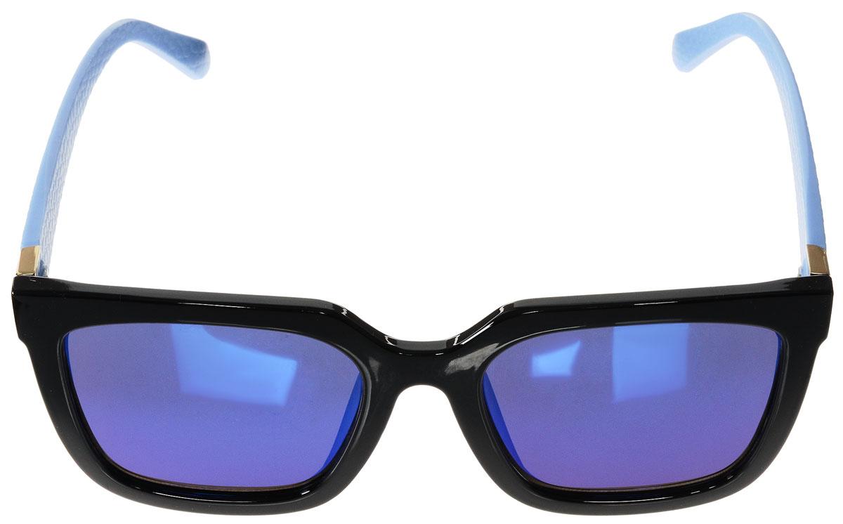Очки солнцезащитные женские Vitacci, цвет: черный, голубой. O195INT-06501Стильные солнцезащитные очки Vitacci выполнены из высококачественного пластика с элементами из металла.Линзы данных очков обладают высокоэффективным поляризационным покрытием со степенью защиты от ультрафиолетового излучения UV400. Используемый пластик не искажает изображение, не подвержен нагреванию и вредному воздействию солнечных лучей. Пластиковая оправа очков легкая, прилегающей формы и поэтому обеспечивает максимальный комфорт. Дужки декорированы оригинальной фактурой.Такие очки защитят глаза от ультрафиолетовых лучей, подчеркнут вашу индивидуальность и сделают ваш образ завершенным.