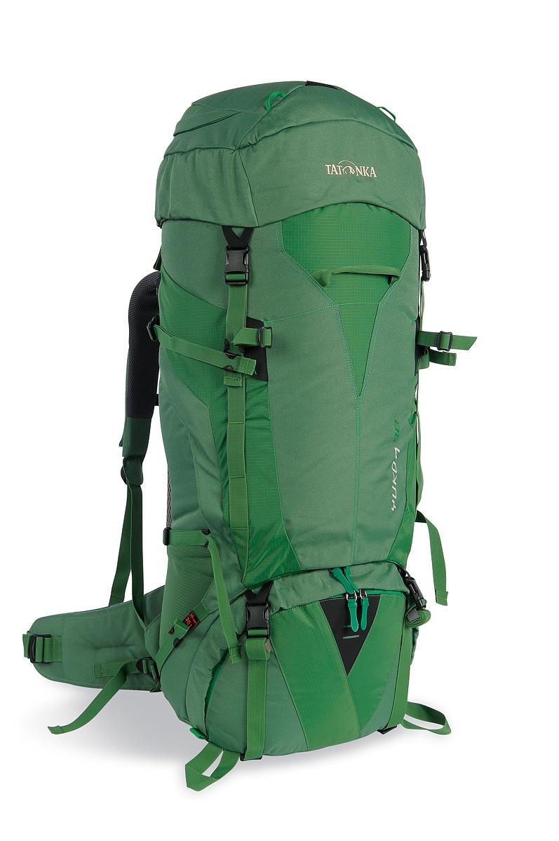 Рюкзак туристический Tatonka Yukon, цвет: зеленый, 70 л1402.070Высокотехнологичный рюкзак Tatonka Yukon, выполненный из высококачественных материалов, подходит для продолжительных походов. Передний клапан на молнии раскрывается в трех измерениях. Очень большой клапан существенно облегчает загрузку, а двухсторонние молнии с 3D открытием обеспечивают быстрый боковой доступ в любое время. Система подвески оснащена расположенной посередине прорезиненной поясной подушкой, оптимально распределяющей нагрузку на бедра. Спинка с мягкой подкладкой, обтянутая терморегулирующей сеткой AirMesh, обеспечивает удобство ношения и хорошую вентиляцию. Регулировочный ремень с трехточечной системой крепления к набедренному ремню придает гибкость и стабильность посадке. Особенности:- система подвески V2;- удобные плечевые ремни;- верхнее отделение с держателем для ключей;- верхний клапан с петлями для навески снаряжения;- двусторонняя передняя молния с 3D открытием;- съемная перегородка, делящее основное отделение на два;- регулируемый набедренный пояс;- компрессионные ремни;- регулируемый по высоте верхний клапан;- нагрудный ремень со свистком;- система креплений для трекинговых палок или ледорубов;- прочные молнии №10;- ручка для переноса спереди и сзади;- боковые карманы;- отделение для аптечки (без содержимого);- отделение для питьевой системы;- дождевой чехол.