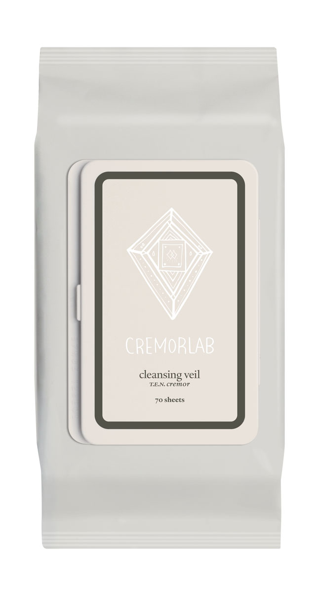 Cremorlab T.E.N. Cremor Салфетки для снятия макияжа Cleansing Veil, 70 штAC-2233_серыйПрекрасно и быстро удаляют следы любого макияжа, снимая раздражения и оставляя кожу увлажненной уже на этапе очищения. Входящие в состав водные и растительные ингредиенты, мгновенно впитываются, глубоко питают и прекрасно сохраняются кожей, восстанавливают ее структуру и водно-жировой баланс. Не содержит искусственных ароматизаторов, минеральных масел и парабенов. Подходит для всех типов и состояний кожи.