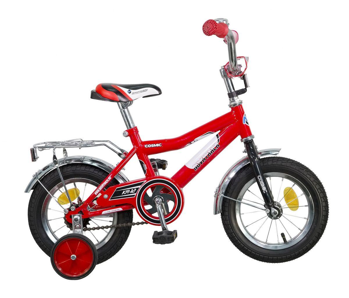 Велосипед детский Novatrack Cosmic, цвет: красный, белый, черный, 12ВН16093Велосипед Novatrack Cosmic – это абсолютно необходимая вещь для детей 2-4 лет. В этом возрасте у ребят очень большой уровень энергии, которую необходимо выплескивать с пользой для организма, да и кто же по доброй воле откажется от велосипеда, тем более такого! Велосипед полностью укомплектован и обязательно понравится маленькому велосипедисту. Рама у велосипеда – стальная и очень прочная. Сиденье и руль регулируются по высоте и надежно фиксируются. Ножной задний тормоз не подведет ни на спуске, ни при экстренном торможении. В целях безопасности велосипед оснащен ограничителем руля, который убережет велосипед от опрокидывания при резком повороте. Дополнительную устойчивость железному коню обеспечивают два маленьких съемных колеса в цвет велосипеда. Не останутся незамеченными накладка на руль, яркие отражатели-катафоты, стильный звонок, защитный кожух для цепи, хромированный багажник, а также крылья, которые защитят от грязи и брызг.