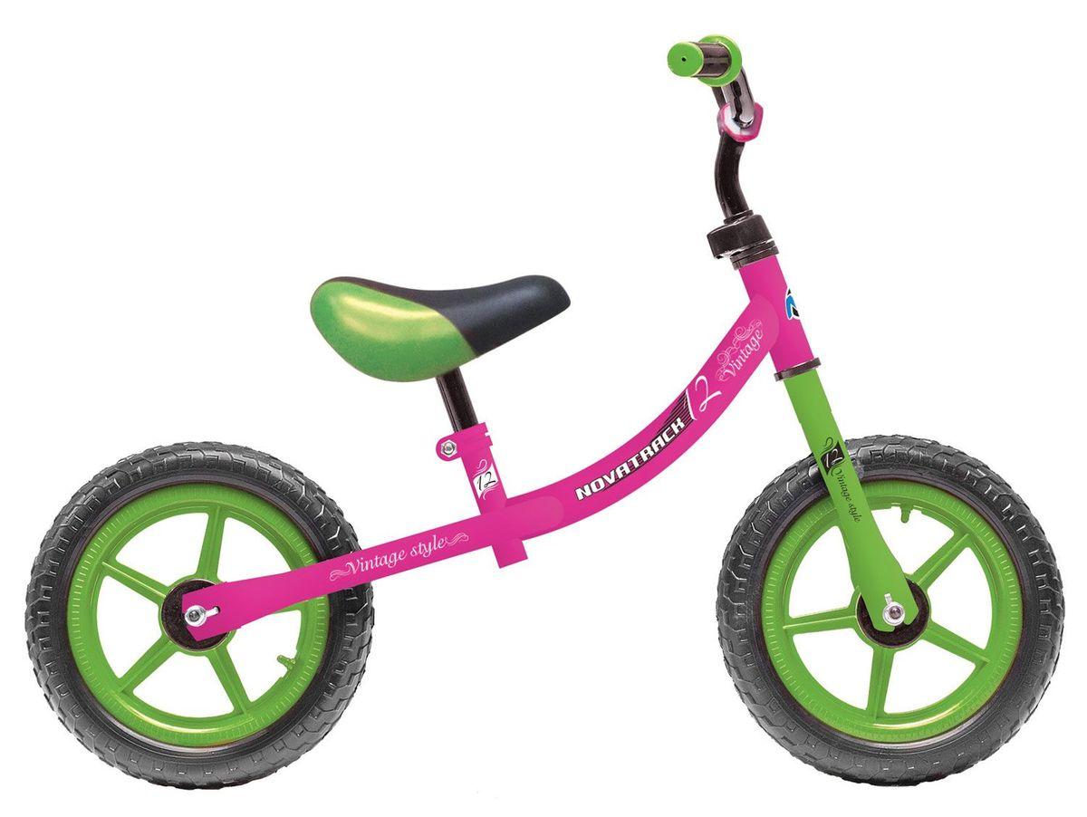 """Беговел Novatrack Vintage - это безопасный, легкий и маневренный беговел для девочек возрастом от 1,5 до 4,5 лет. Эргономичное седло позволит ребенку комфортно разместиться на беговеле и легко отталкиваться ножками от земли. На беговел Novatrack Vintage установлены колёса с шинами из пенорезины не боящиеся проколов и очень легкие. Для того, чтобы ребенок смог более уверенно чувствовать себя управляя беговелом, на руль установлены мягкие грипсы в форме """"грибочка"""", обеспечивающие удобный и надежный хват. Высота сиденья и руля регулируется по высоте, гарантируя службу беговела как минимум на несколько сезонов. Хотите подарить своему чаду множество счастливых часов, проведенных на свежем воздухе? Тогда обратите внимание на беговел Novatrack Vintage, который подойдёт как для самых маленьких ребятишек, не освоивших азы равновесия, и так же будет интересен более опытным и активным наездникам. Самое главное, что учиться кататься на беговеле очень весело и увлекательно, такие занятия доставят..."""