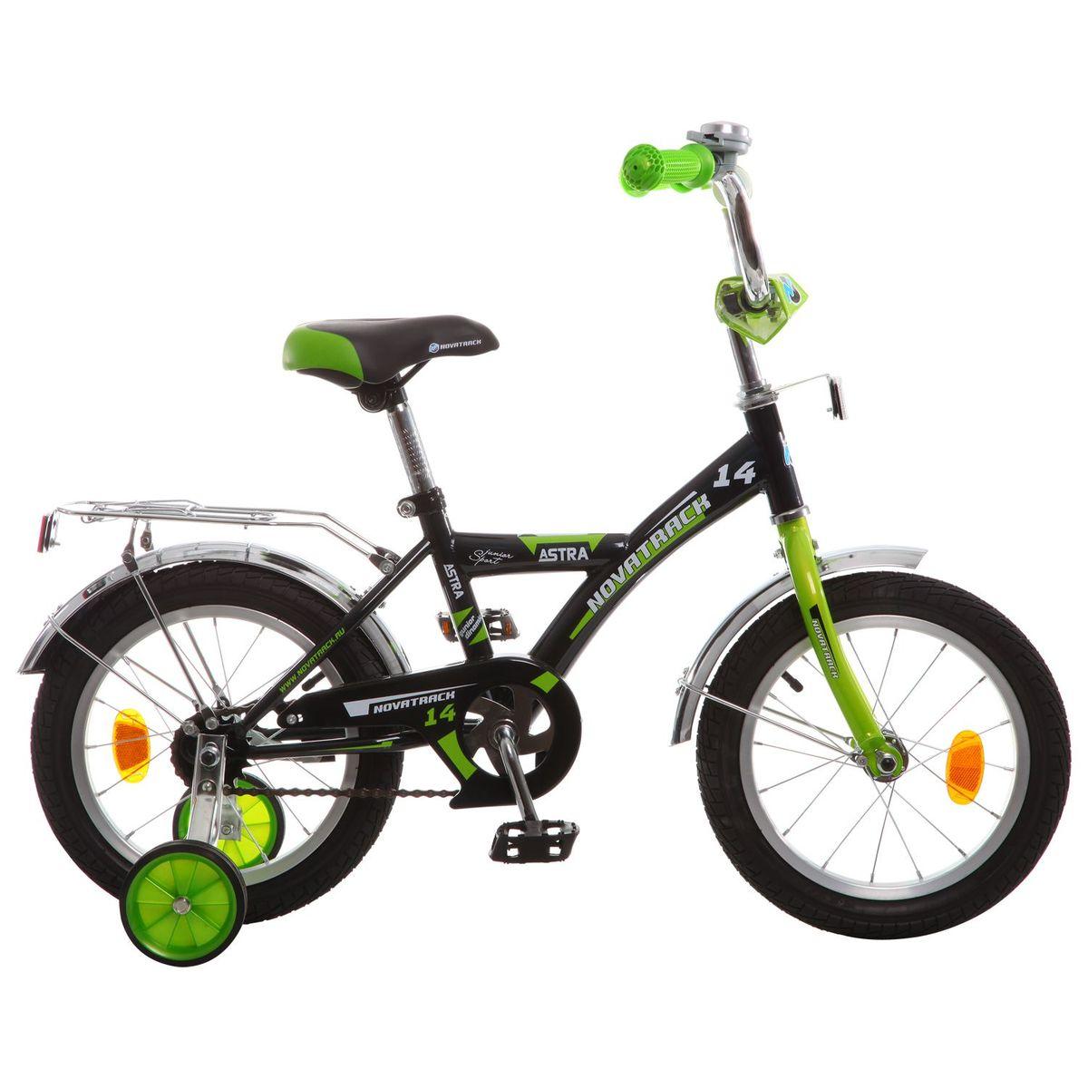 Велосипед детский Novatrack Astra 14, цвет: черный143ASTRA.BK5Хотите, чтобы ваш ребенок играя укреплял здоровье? Тогда ему нужен удобный и надежный велосипед Novatrack Astra 14'', рассчитанный на малышей 3-5 лет. Одного взгляда малыша хватит, чтобы раз и навсегда влюбиться в свой новенький двухколесный транспорт, который в принципе, сначала можно назвать и четырехколесным. Дополнительную устойчивость железному «коню» обеспечивают два маленьких съемных колеса в цвет велосипеда. Astra собрана на базе рамы с универсальной геометрией, которая позволяет легко взобраться или слезть с велосипеда, при этом он имеет такой вес, что маленький ребенок сам легко справляется со своим транспортным средством. Так как велосипед предназначен для самых маленьких, предусмотрен ограничитель поворота руля, который не позволит сильно завернуть руль и упасть. Еще один элемент безопасности – это защита цепи, которая оберегает одежду и ноги малыша от попадания в механизм. Стильные крылья защитят от грязи и брызг, а на багажнике ребенок сможет перевозить массу полезных в дороге вещей. Данная модель маневренна и легко управляется, поэтому ребенку будет несложно и интересно учиться езде.